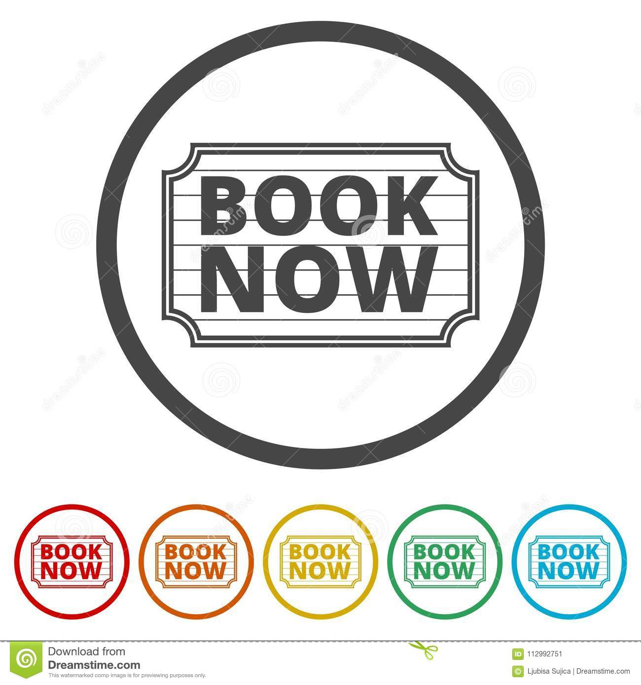 Book Now icon, Book Now sign, 6 Colors Included