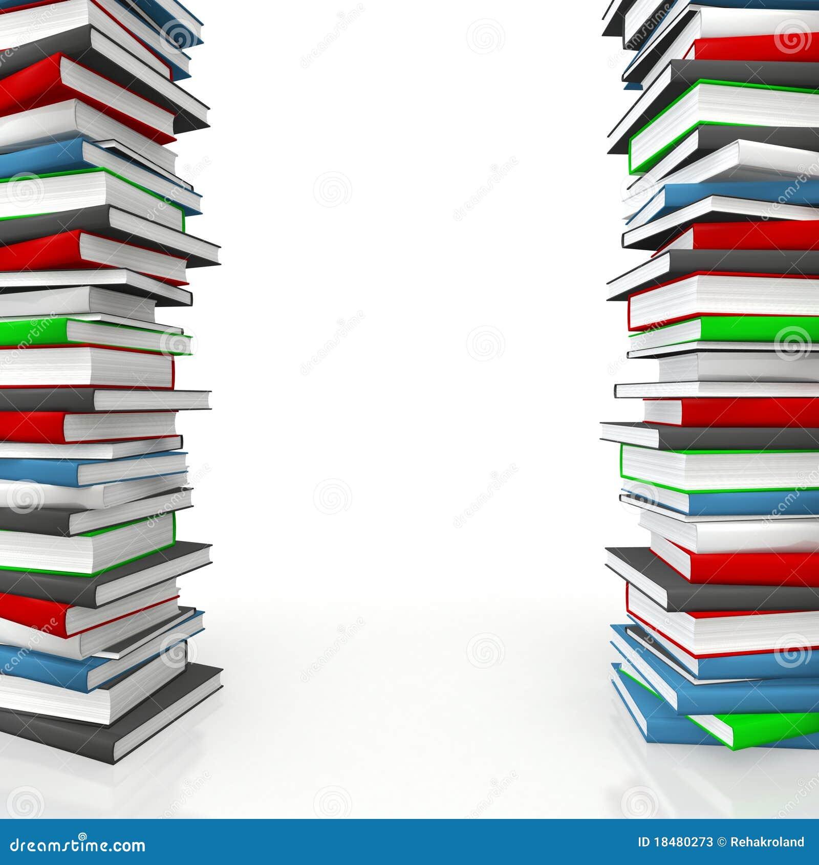 Book Piles As Frame Stock Photos