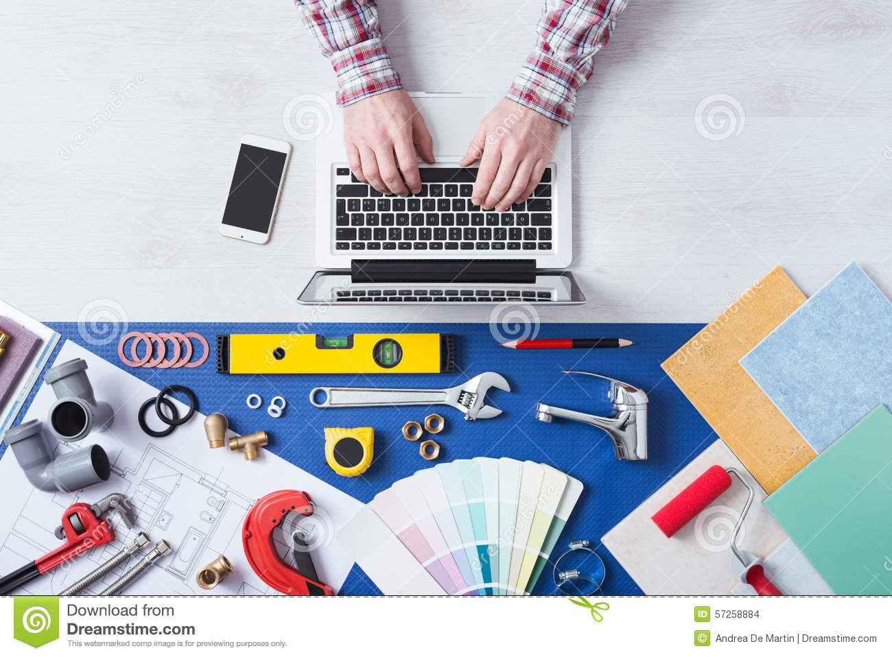 Book a plumber online stock photo. Image of mobile, equipment - 57258884