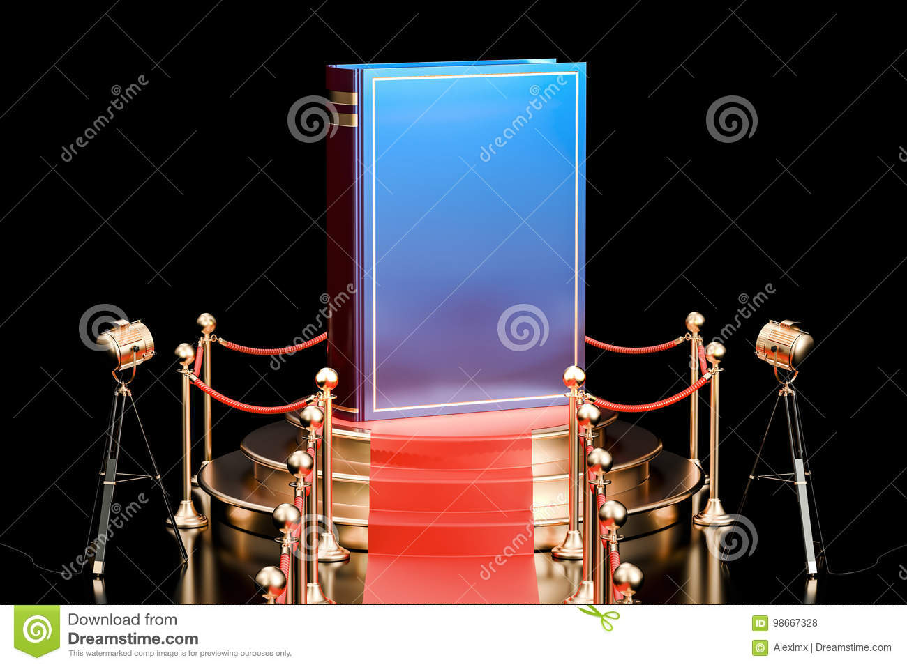Book on podium, presentation of new book concept. 3D rendering