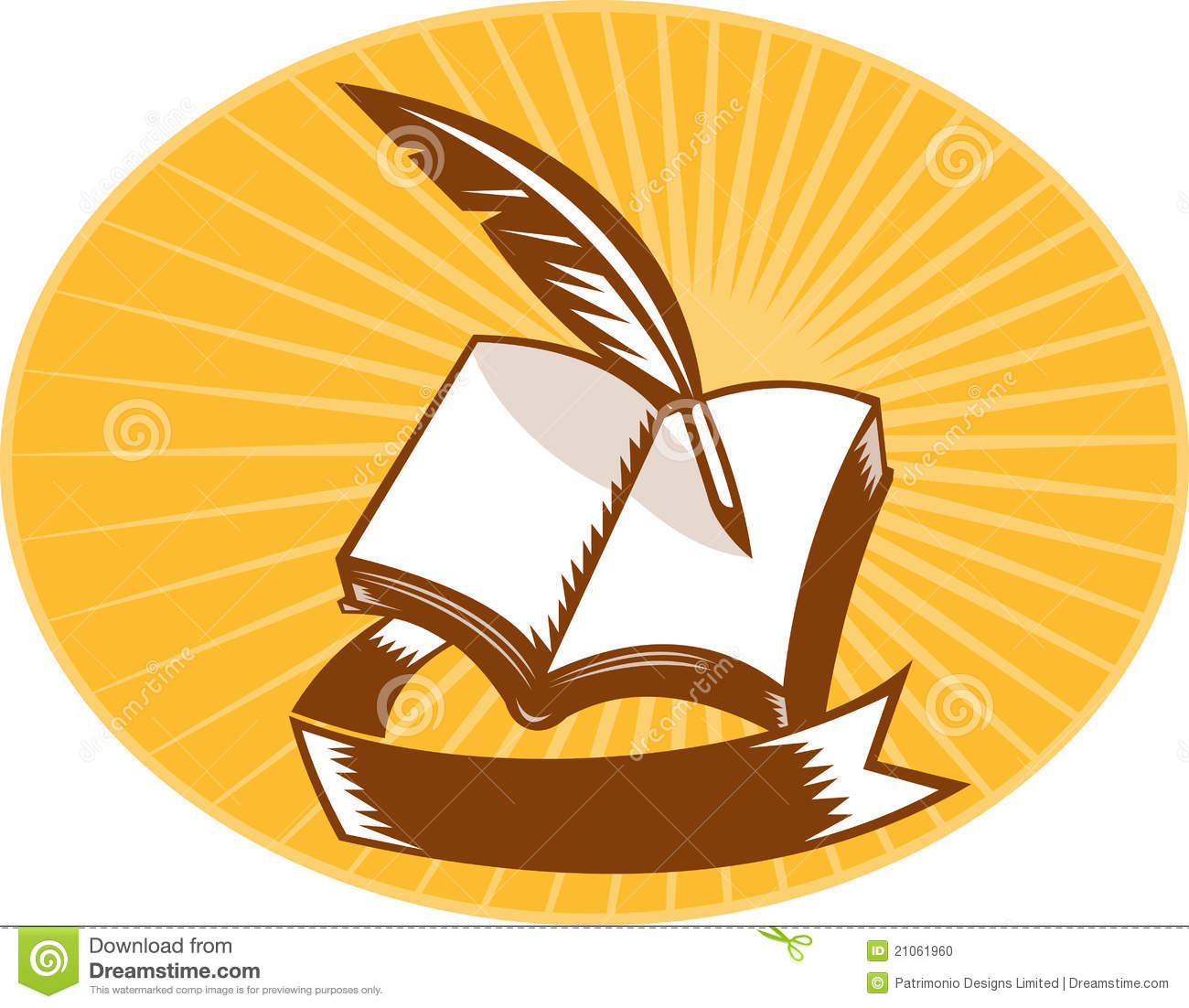 Book with quill pen and scroll woodcut stock illustration Calligraphy books free