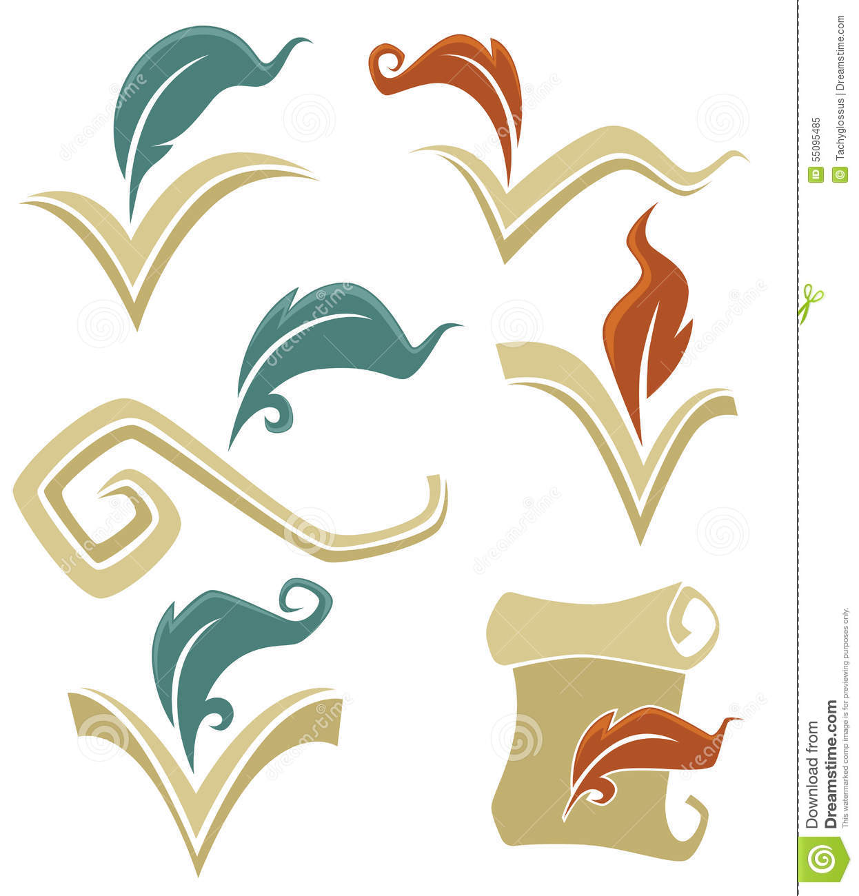 Book And Quill Stock Vector Illustration Of Books Feather 55095485