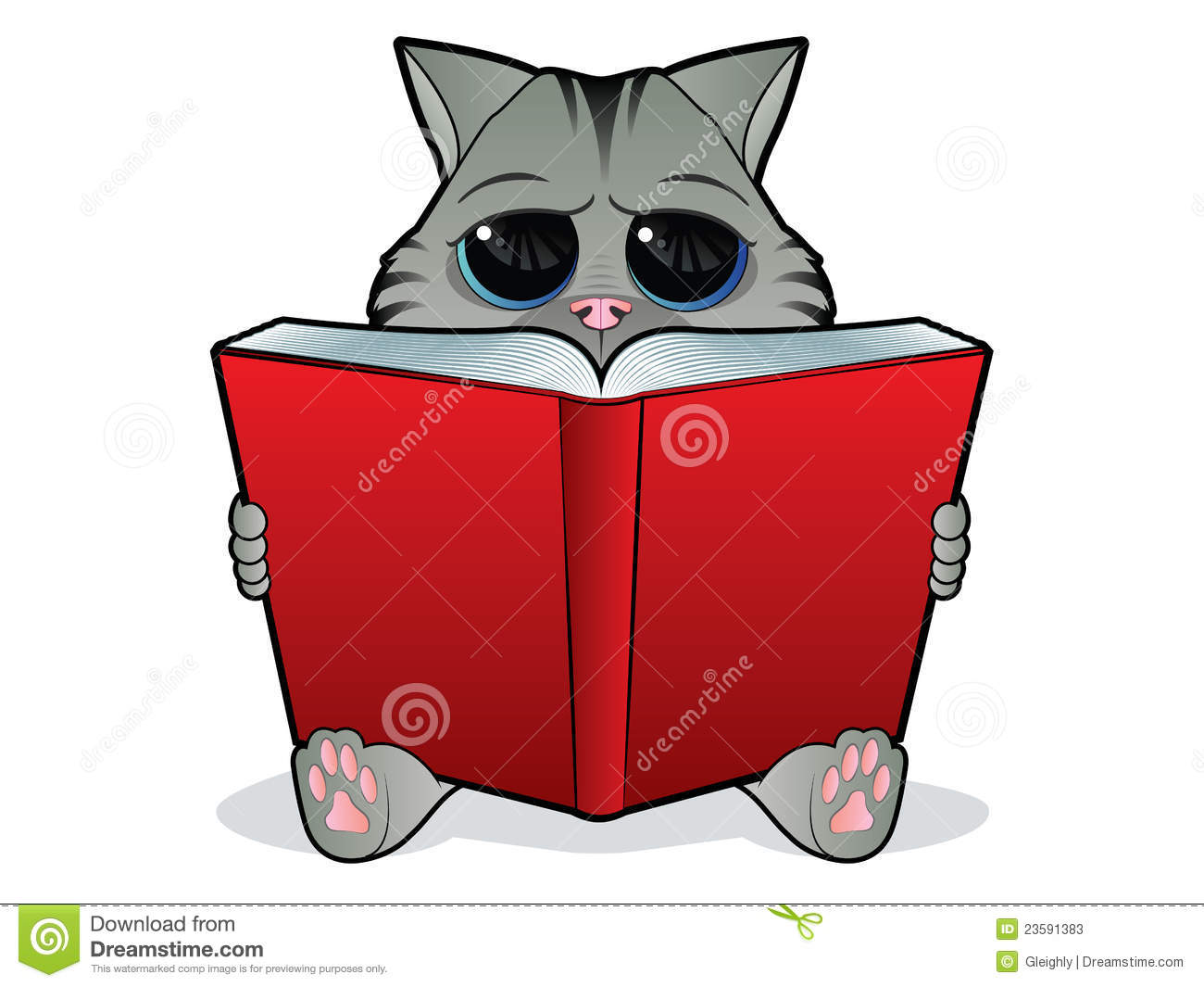 Book Reading Cat Stock Vector Image Of Drawing Cuddly