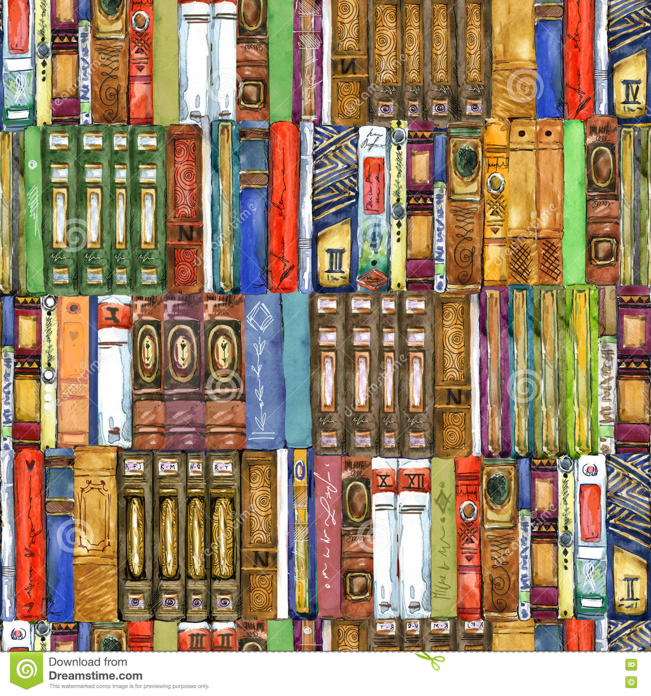 Book. Seamless pattern with books. Book watercolor illustration.