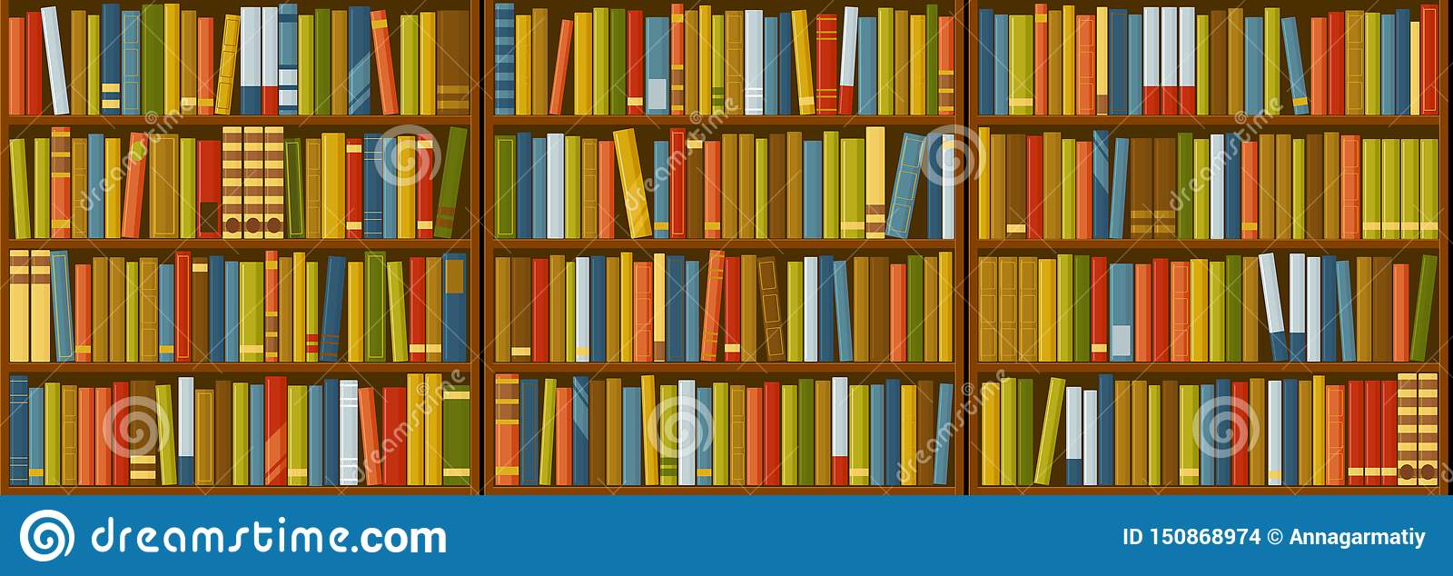 Book Shelf Seamless Texture Stock Vector Illustration Of