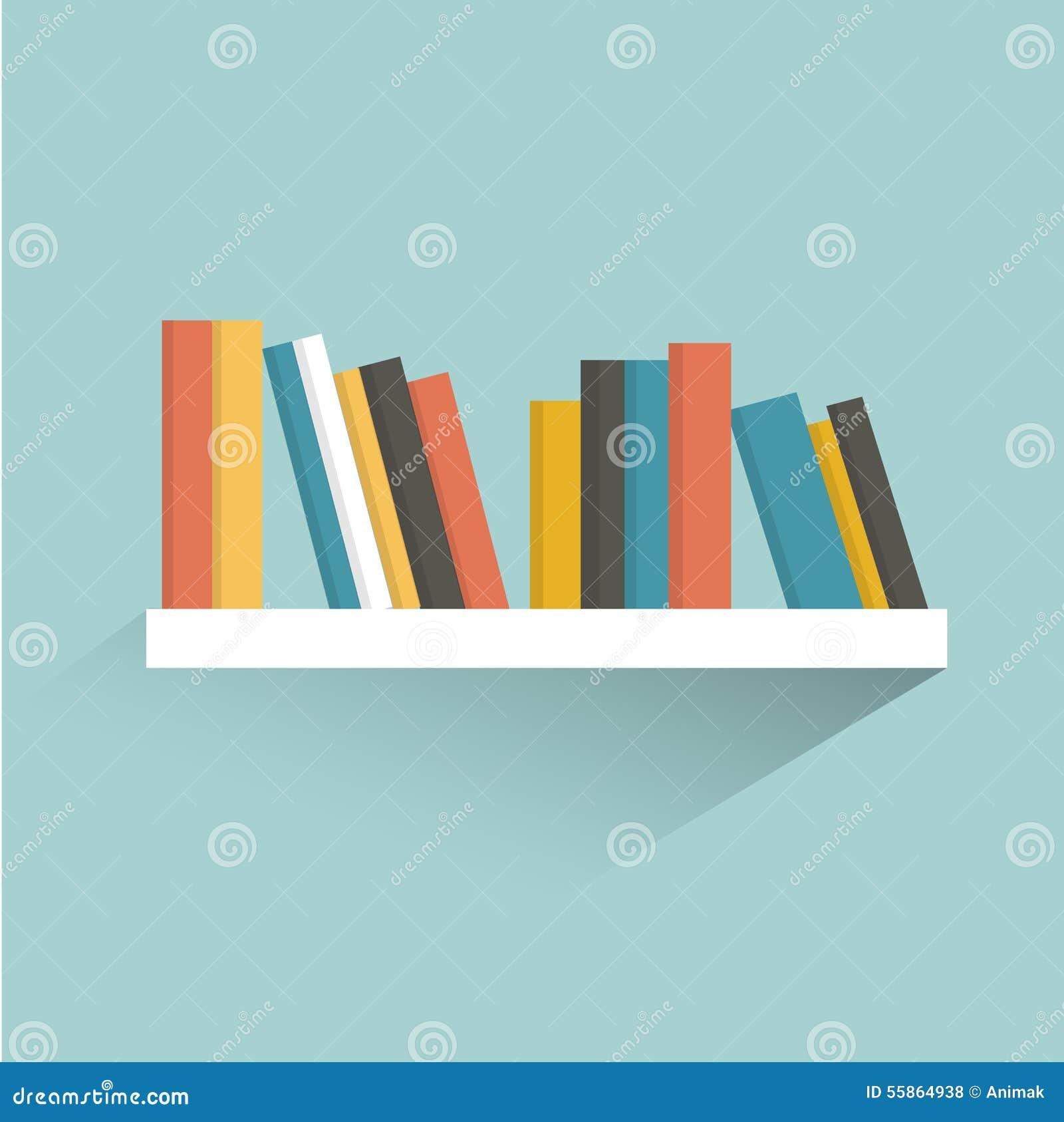 Book Shelf Flat Design Stock Vector Illustration Of