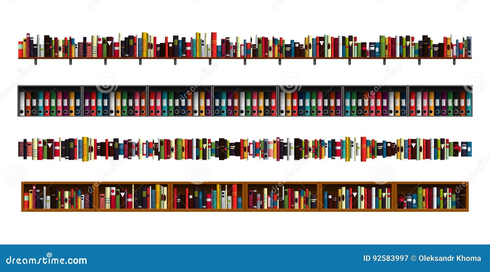 Vector Illustration Web Designs: Book Shelves Borders Set. Stock Vector. Illustration Of