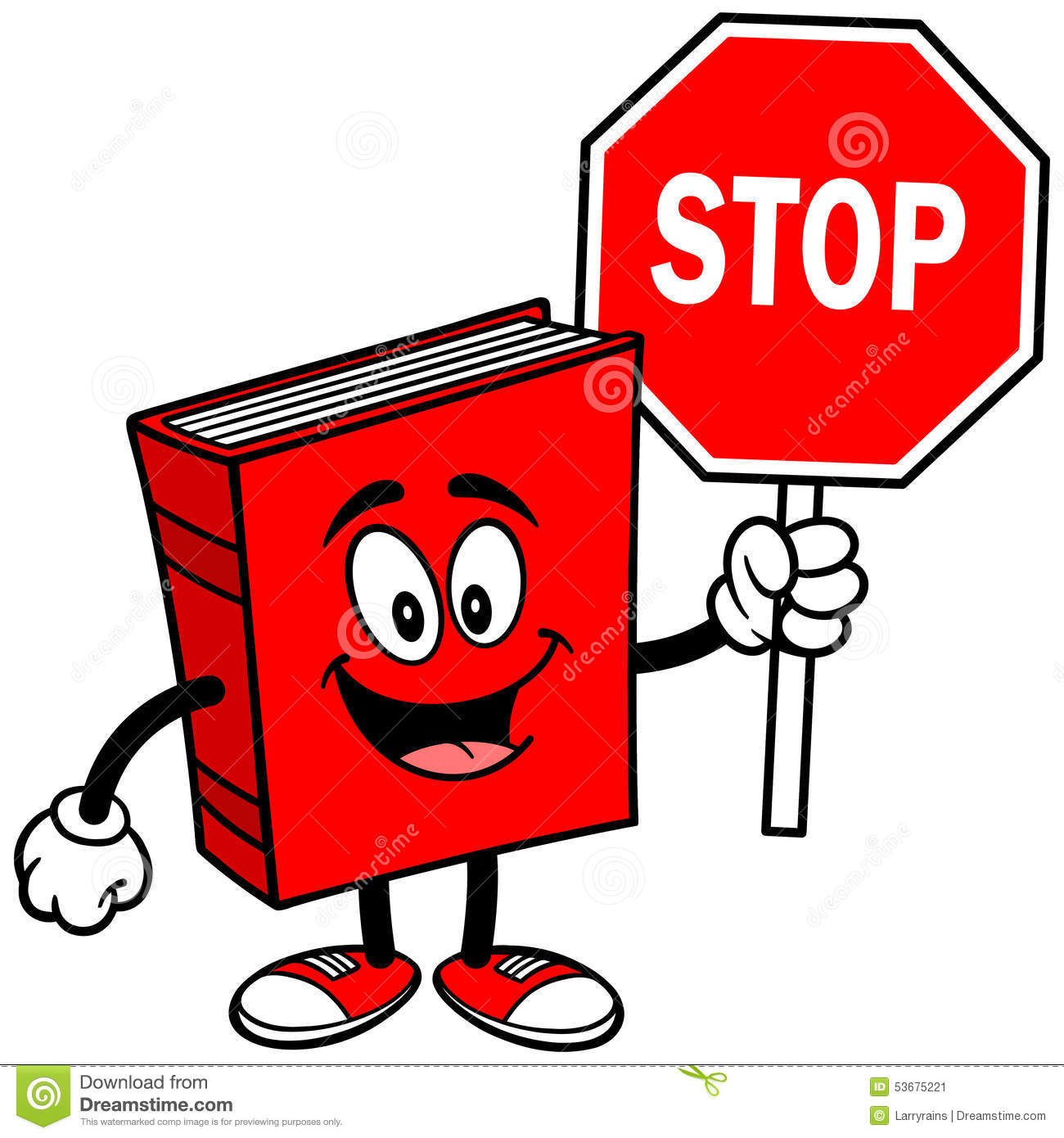 Book With Stop Sign Stock Vector - Image: 53675221