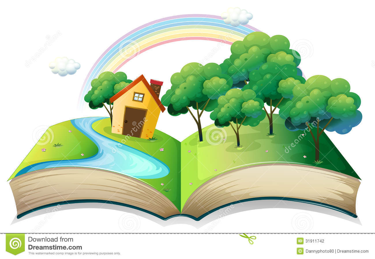 A Book With A Story Of A House At The Forest Stock