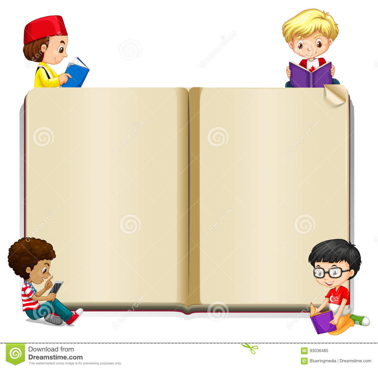 Book Template With Kids Reading Stock Vector Illustration of read