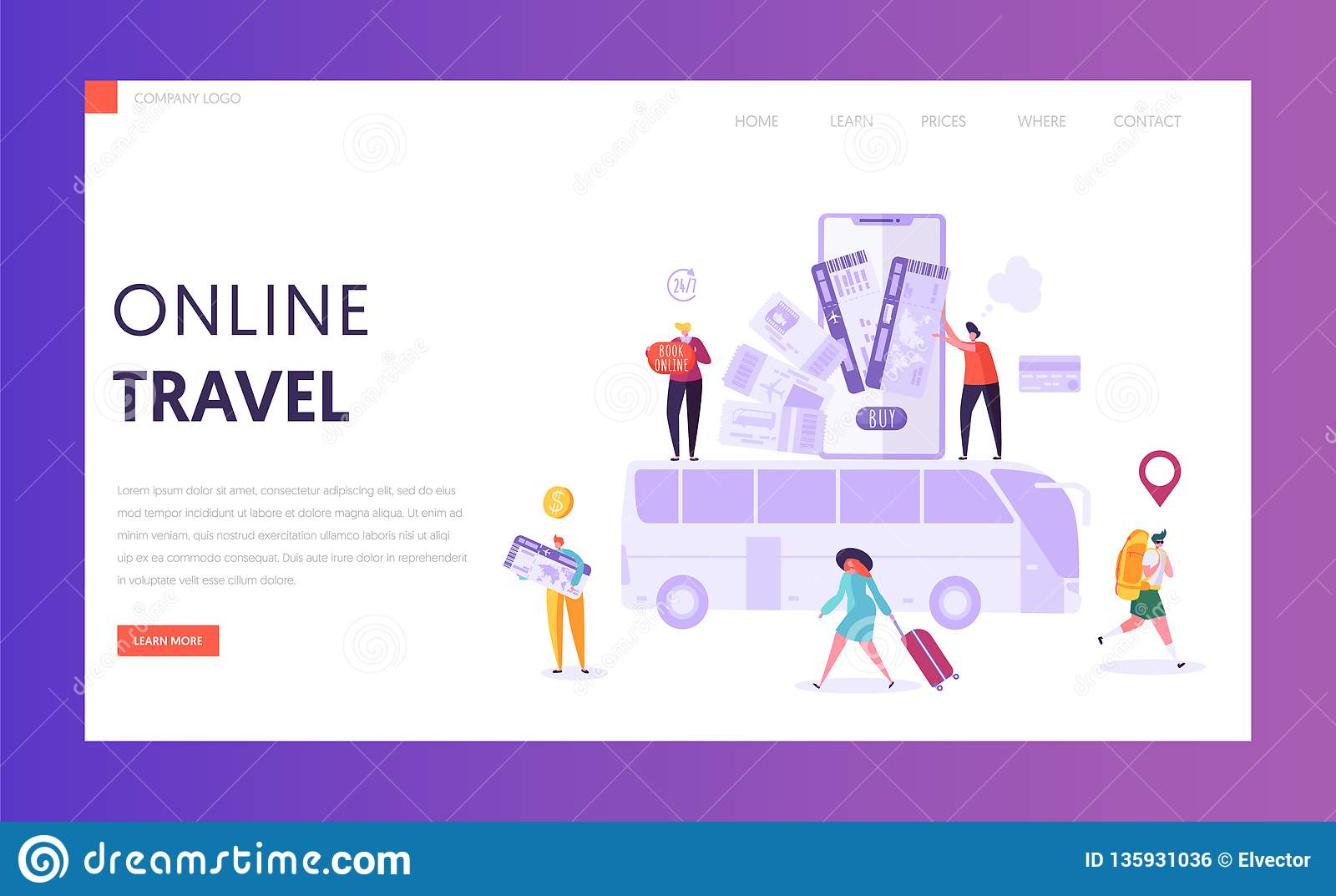 Book Vacation Bus Ticket Landing Page  Holiday Trip Online