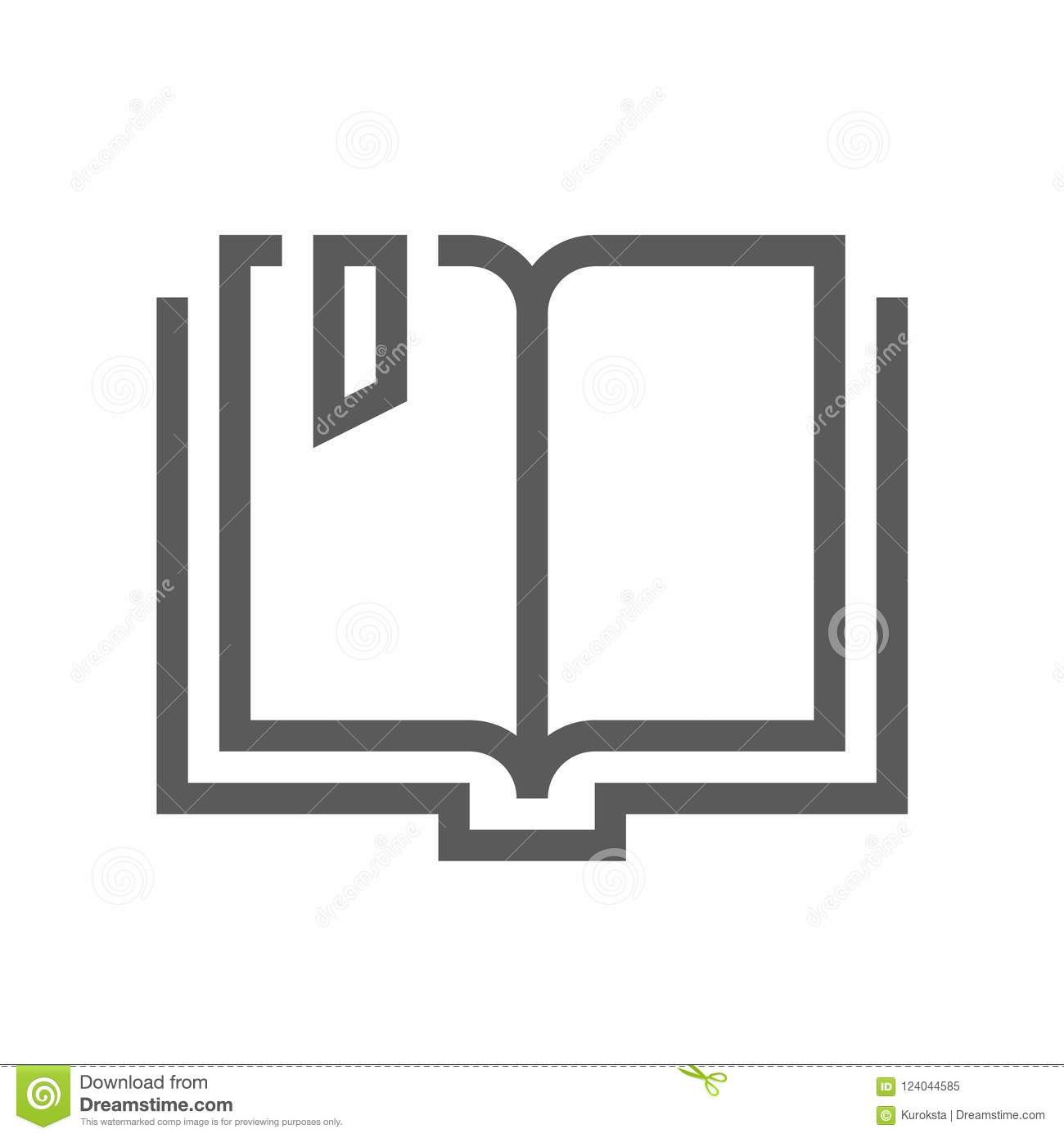 Book Vector Flat Line Icon  Organizer, Learning, E-Reader