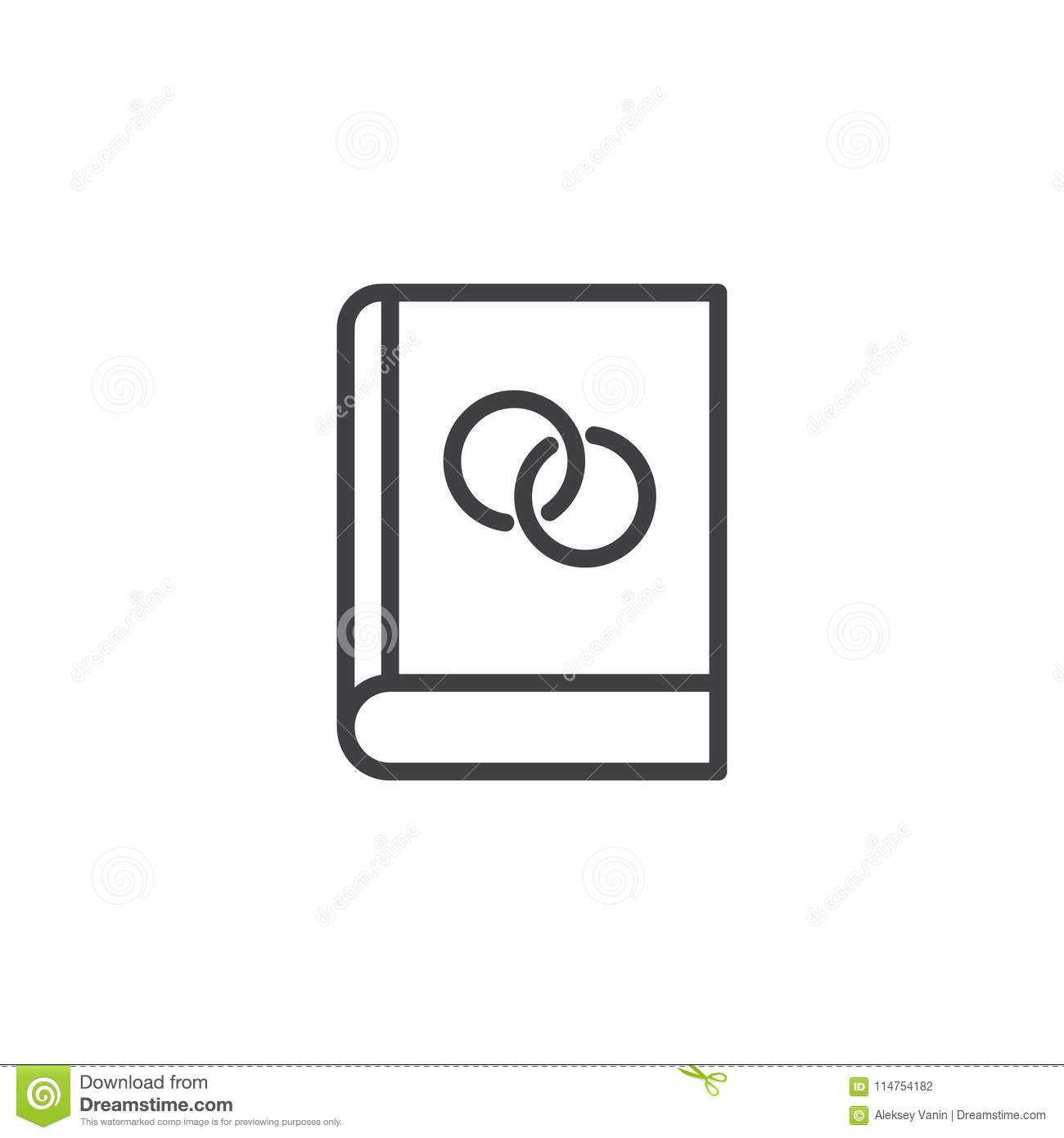Book With Wedding Rings Outline Icon Stock Vector Illustration Of