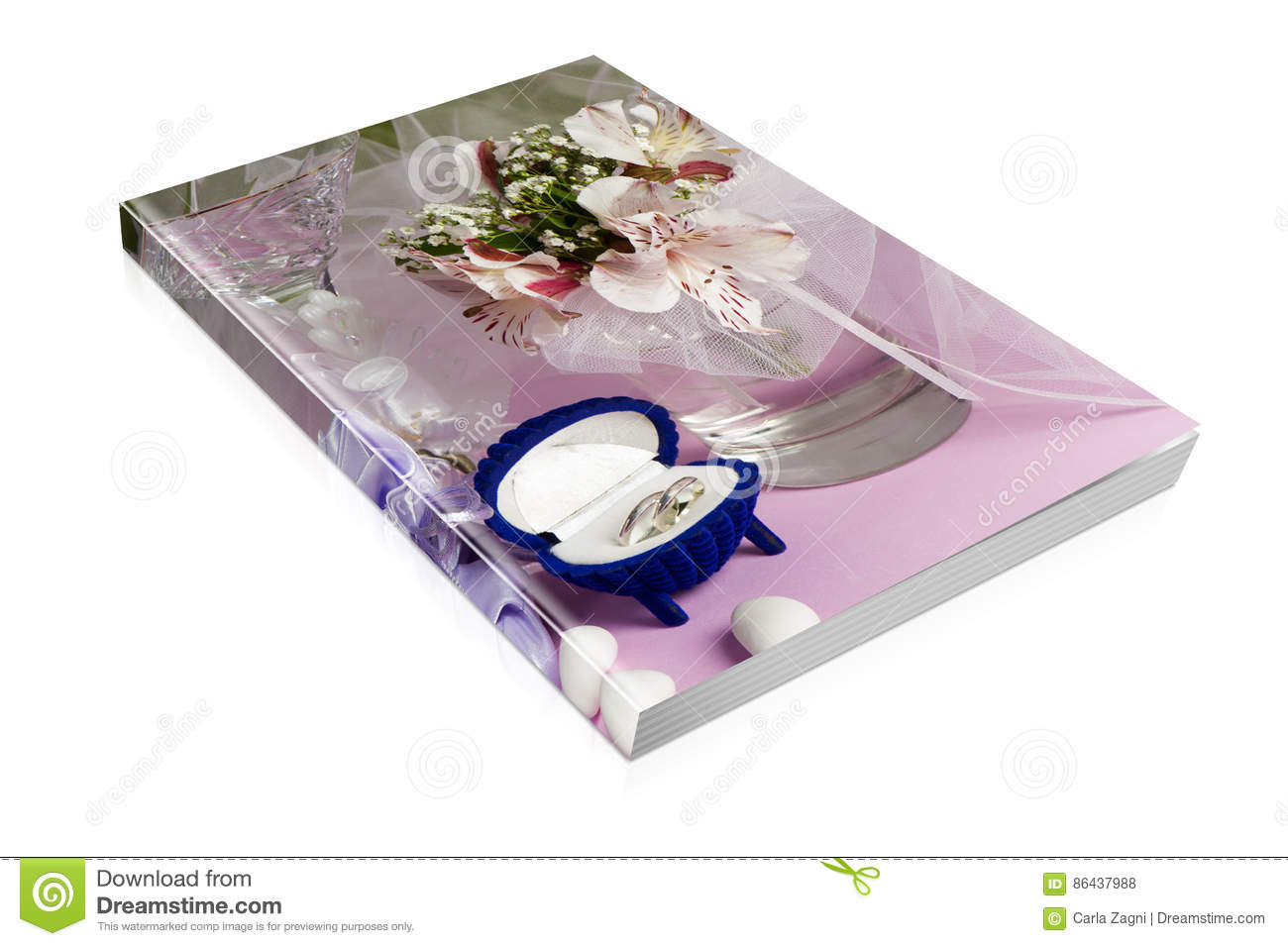 Book of wedding rings and wedding favors