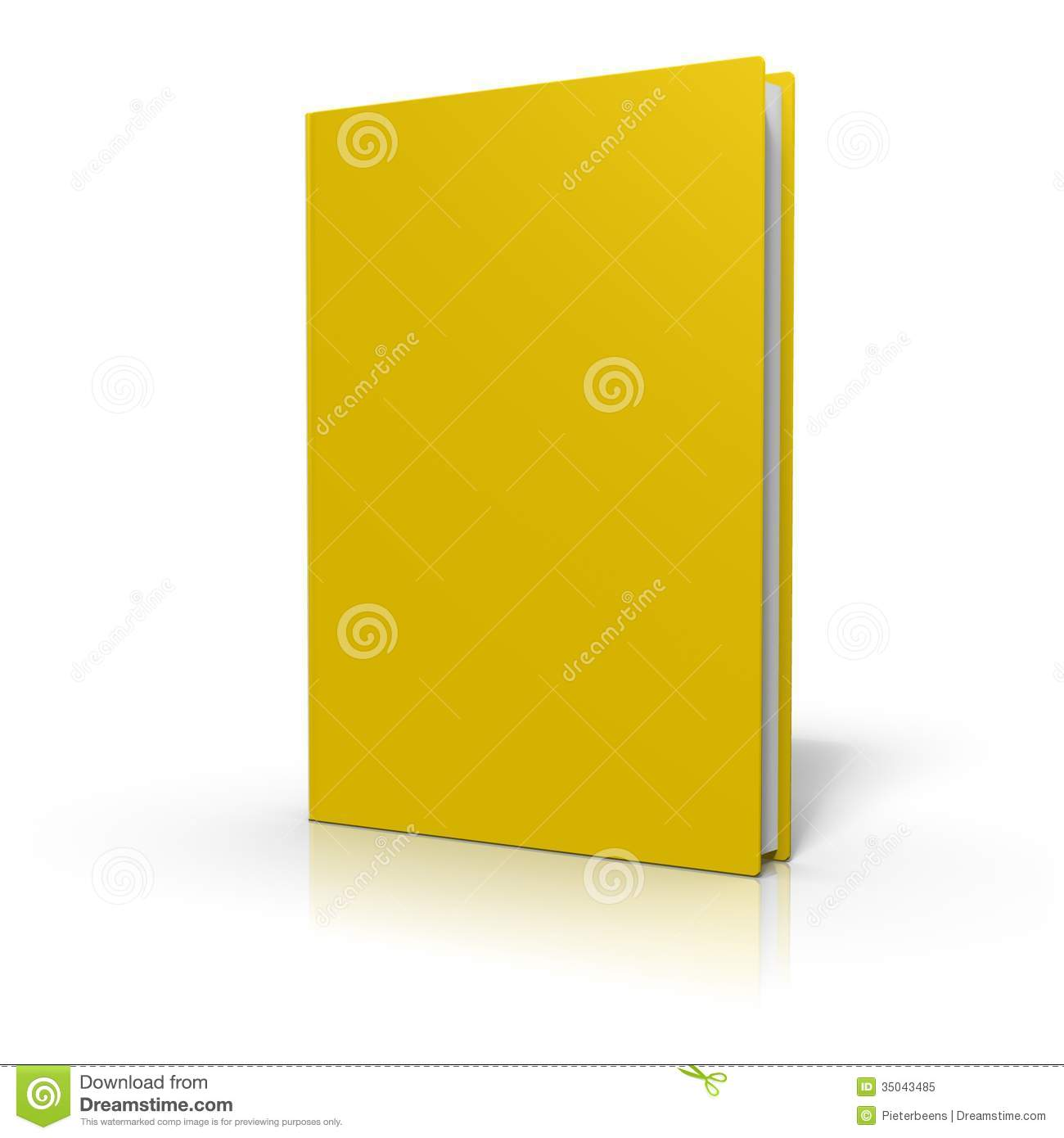 Book Cover White Background : Book with yellow cover isolated on white background