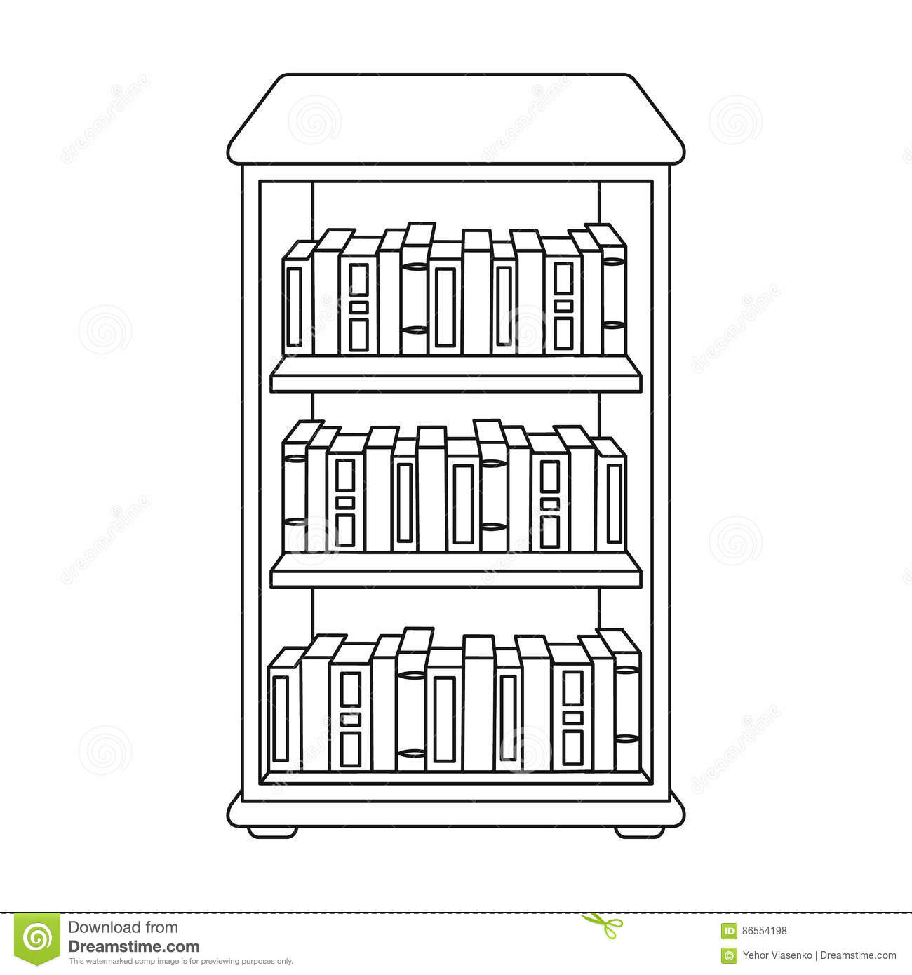 Bookcase with books icon in outline style isolated on for Decor outline