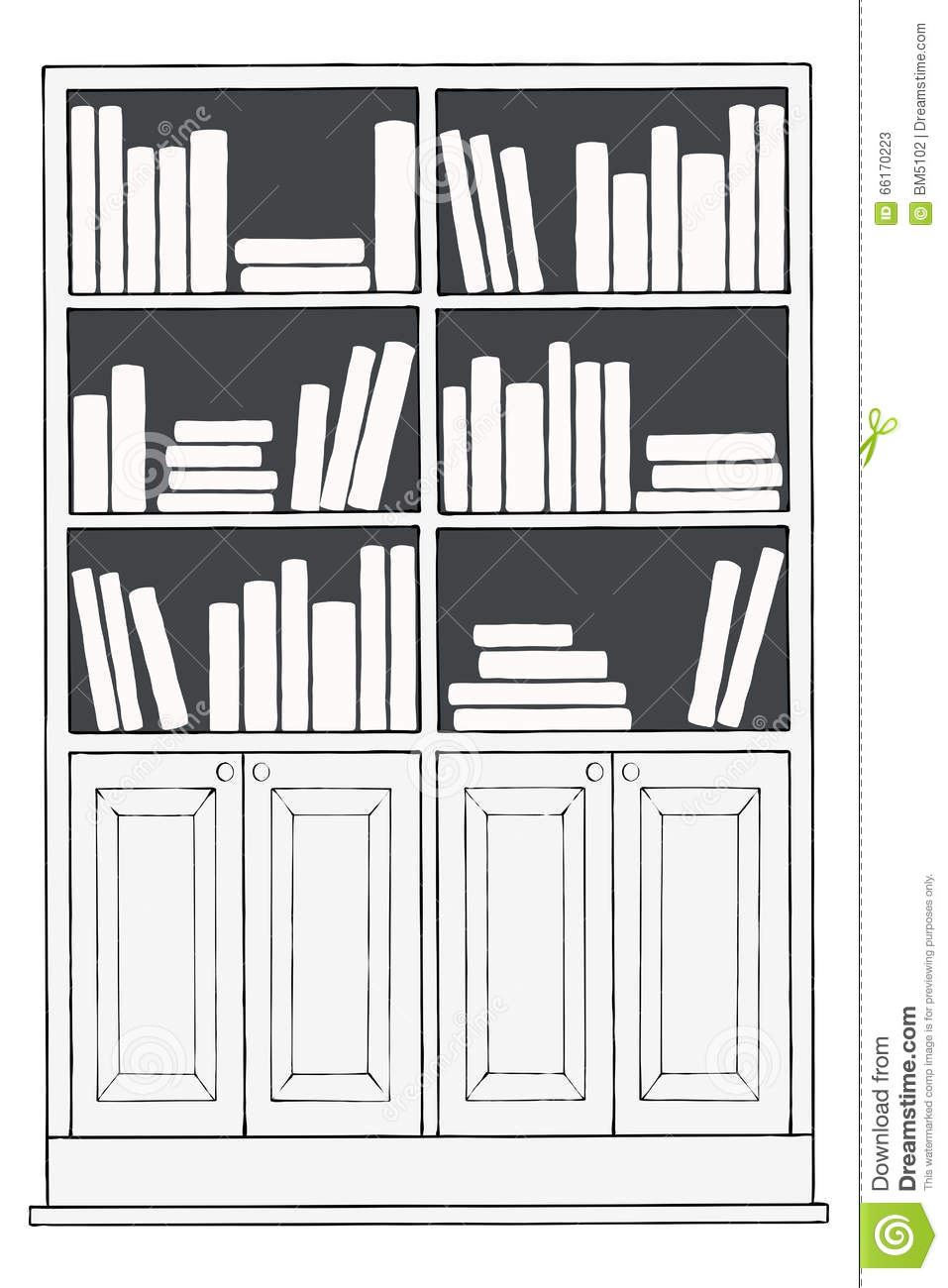 Bookcase Or Bookshelf Stock Illustration Of Bottom