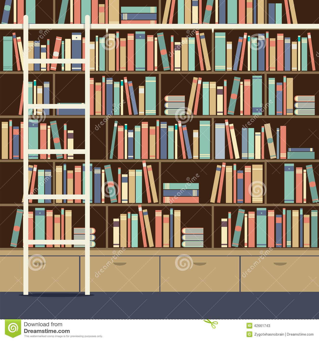 Bookcase With Ladder Stock Vector Illustration Of Bookcase