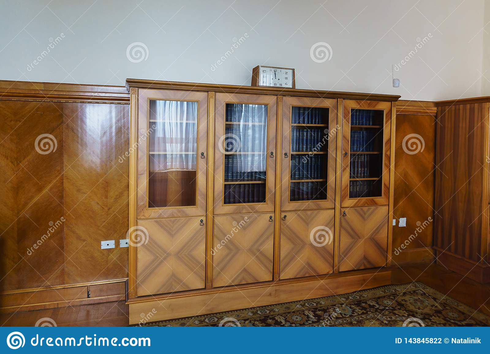 Bookcase in the office of Stalin`s apartment in the Yusupov Palace. On the shelves is the complete works of Lenin