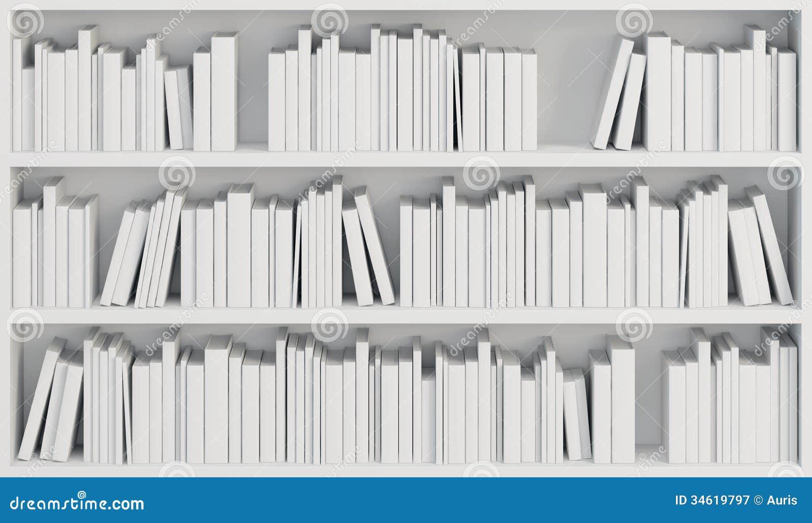 Bookcase With White Books Stock Illustration Illustration