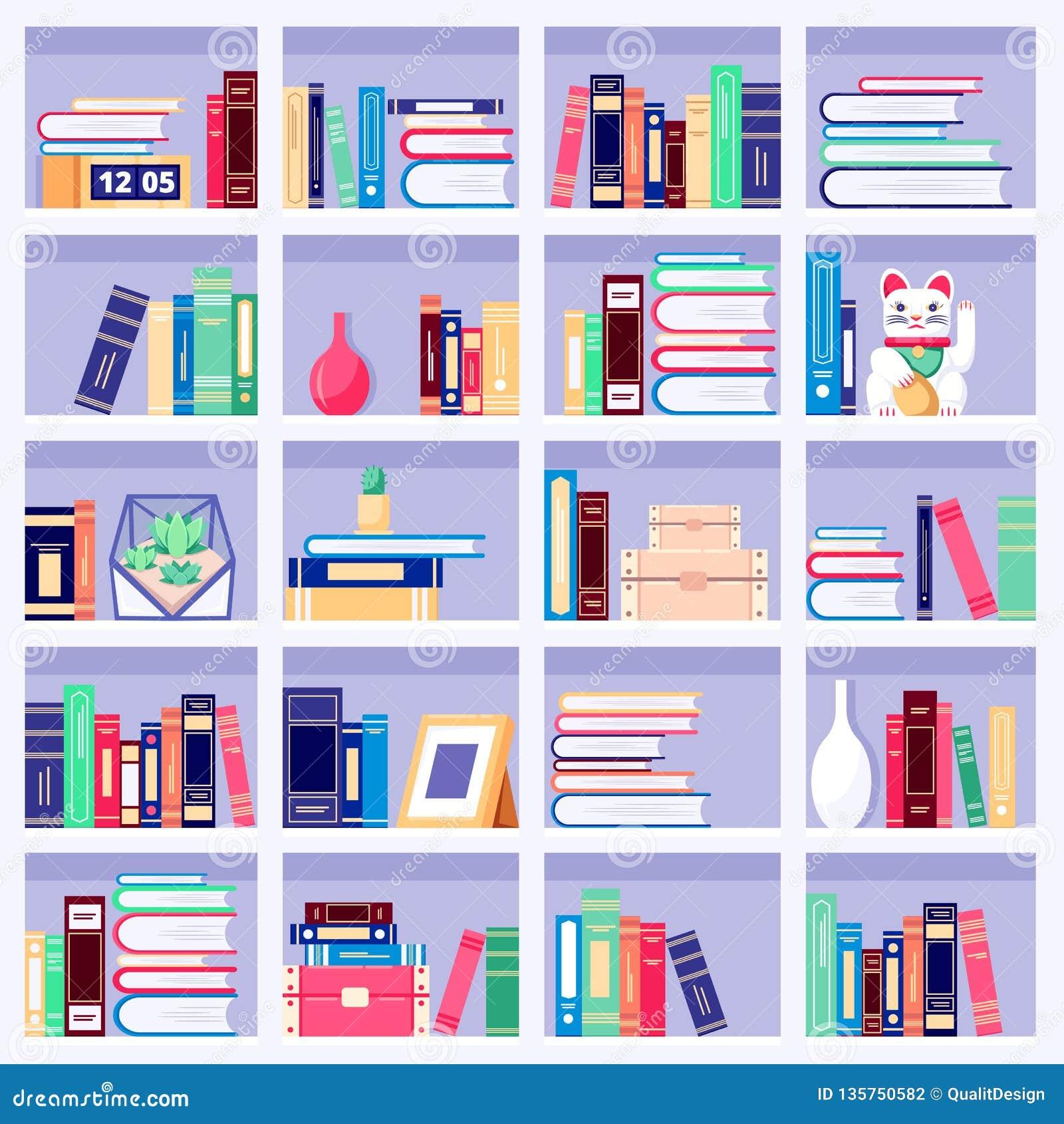 Bookcase z kolorowymi książkami i domowym wystrojem na półkach na książki, wektorowa płaska ilustracja Domowy wewnętrzny tło