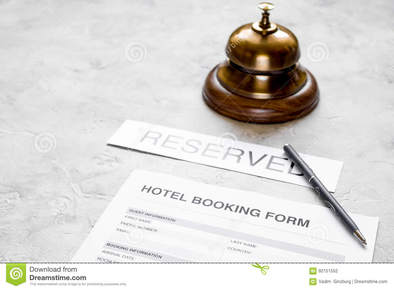 Booking Form For Hotel Room Reservation, Pen And Ring Stone