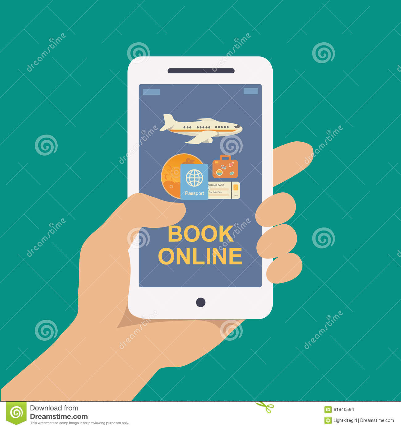 Booking Online Travel Or Ticket Stock Vector Image 61940564