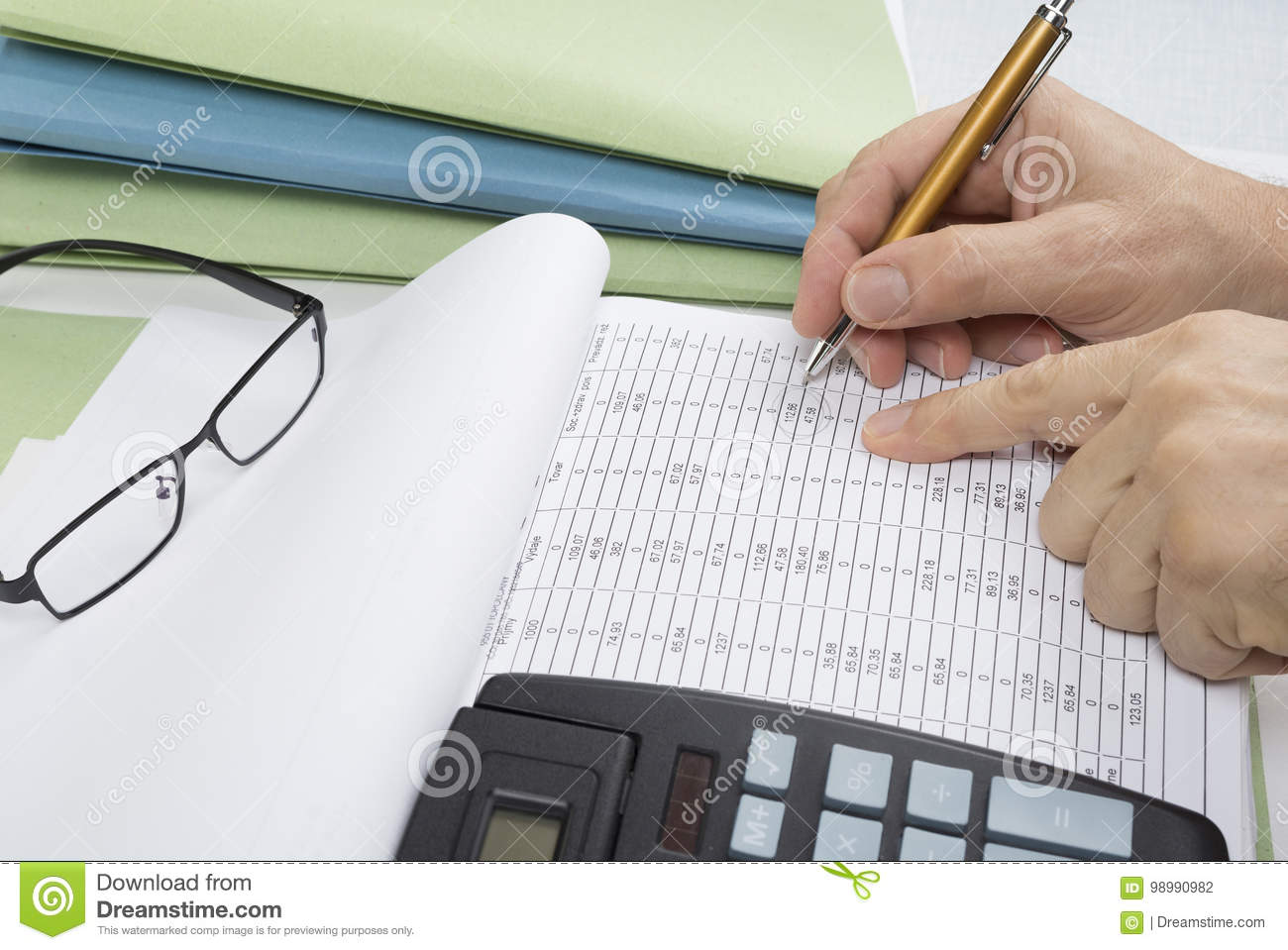 Bookkeeper or financial inspector making report, calculating or checking balance. Audit concept.