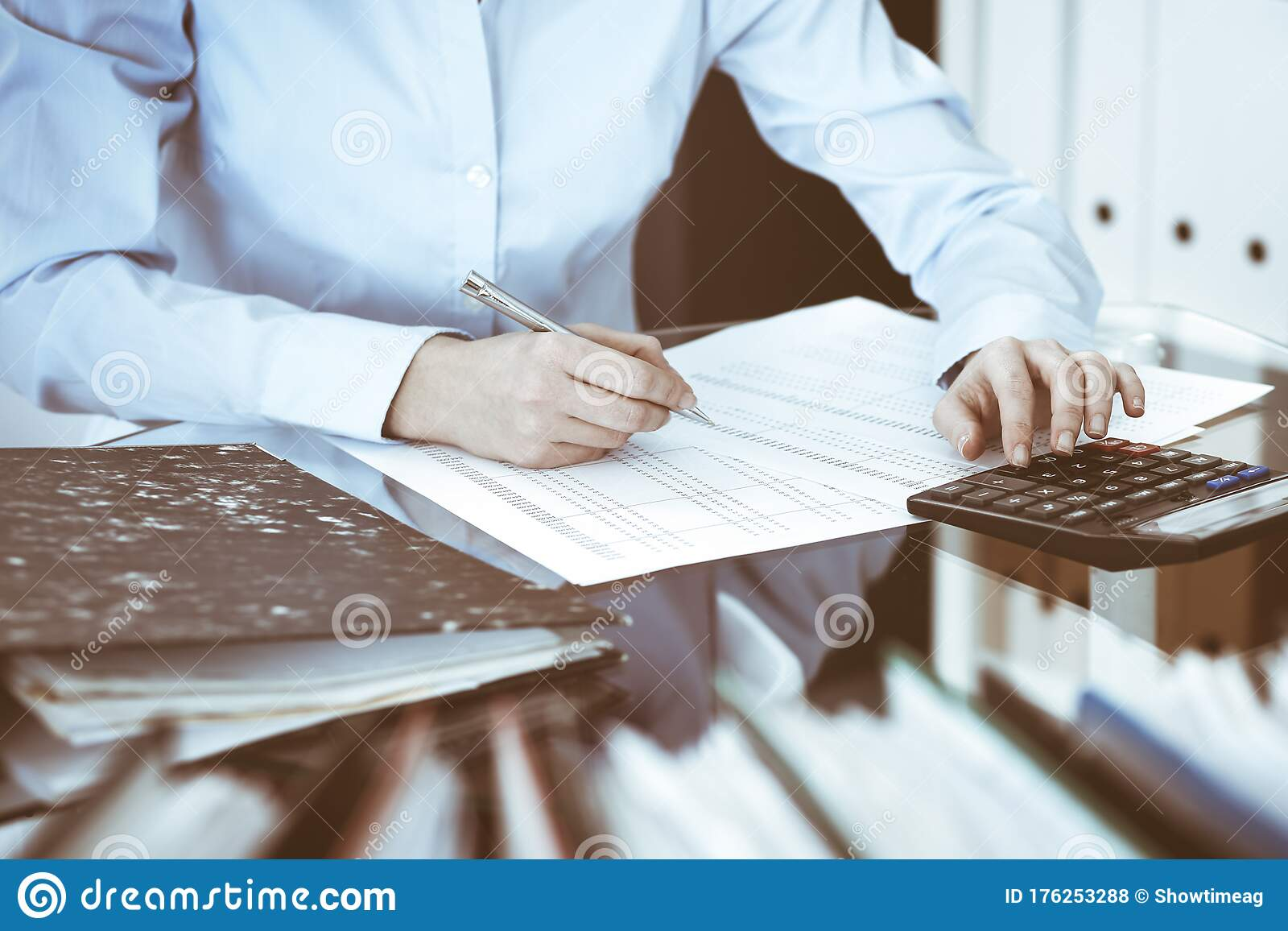 Bookkeeper Woman Or Financial Inspector Making Report Calculating Or Checking Balance Close Up Business Audit Or Tax Stock Photo Image Of Account Consultant 176253288