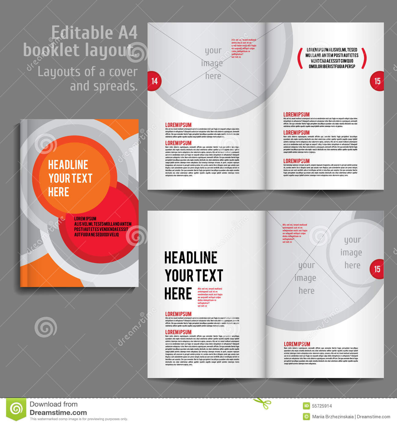 a4 booklet layout design template with cover illustration 55725914