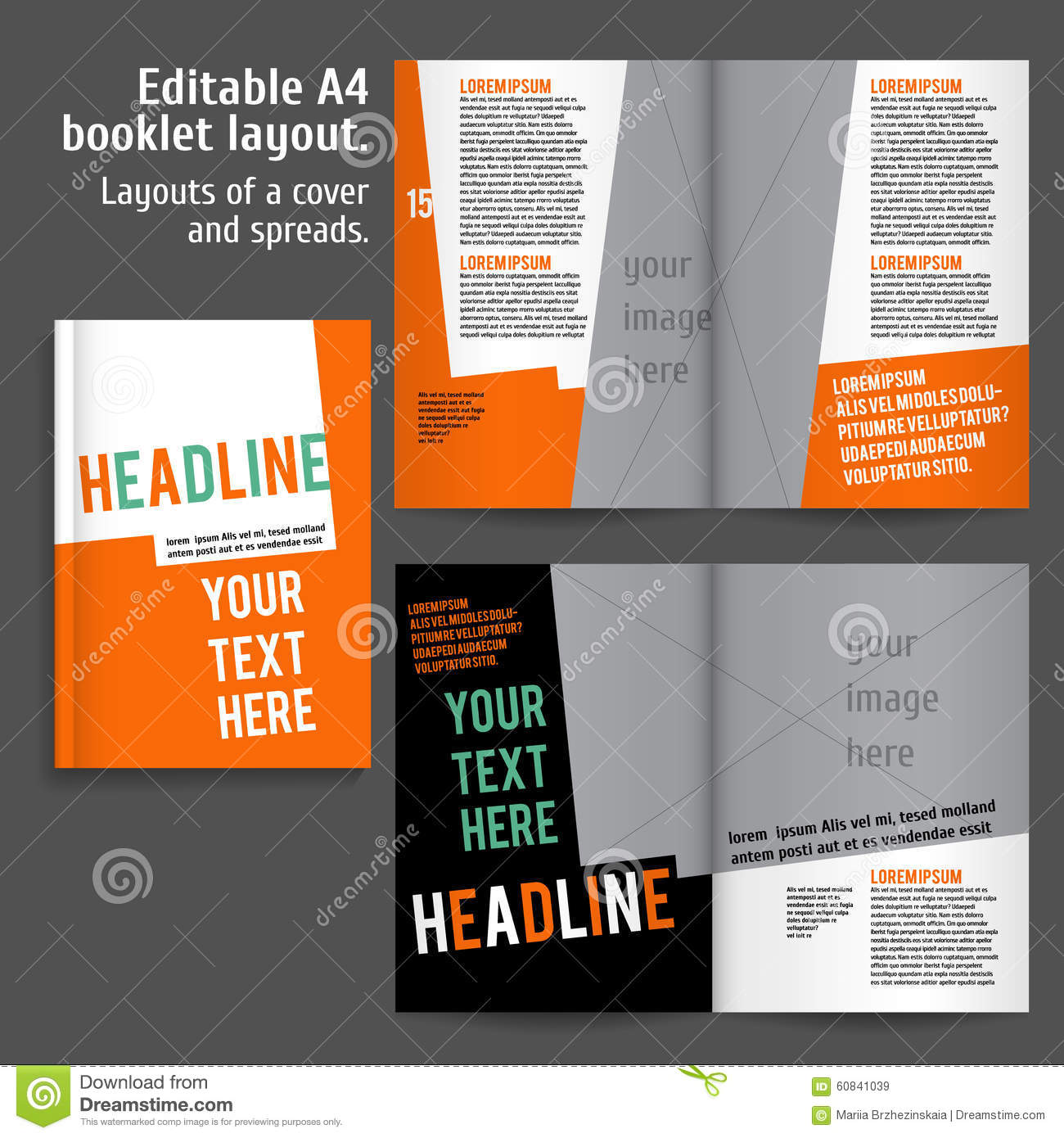 A4 Booklet Layout Design Template With Cover  Booklet Template Free Download
