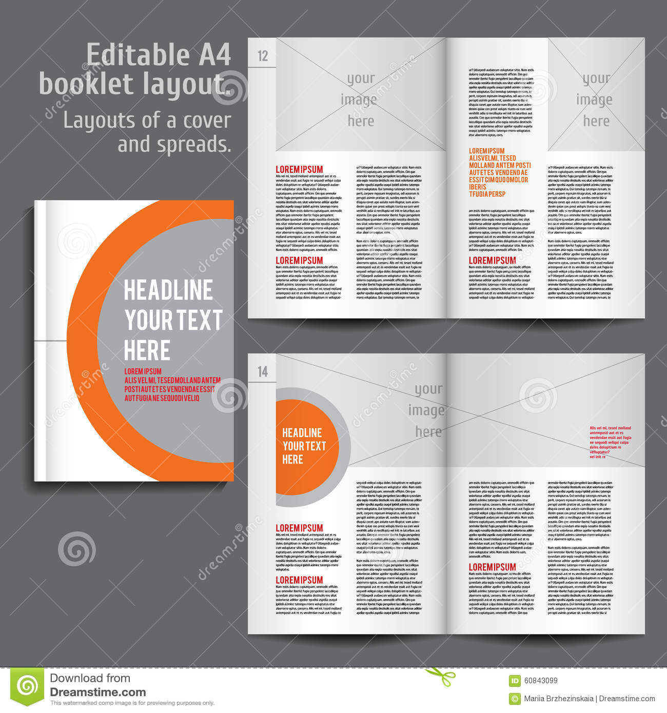 A4 booklet layout design template with cover stock vector for Directory booklet template