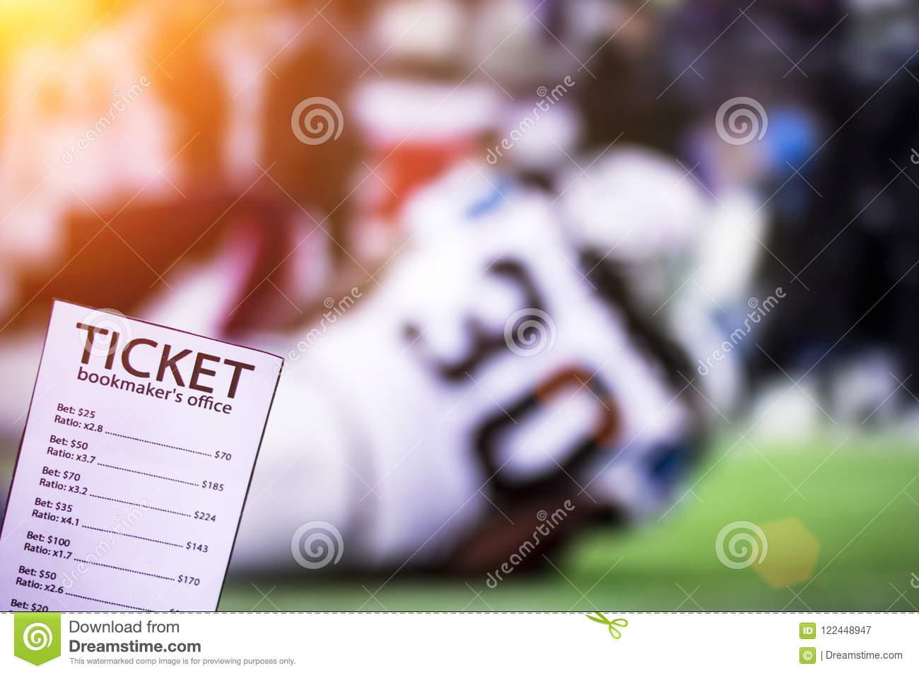 Bookmaker`s Ticket, Against The Background Of The TV On