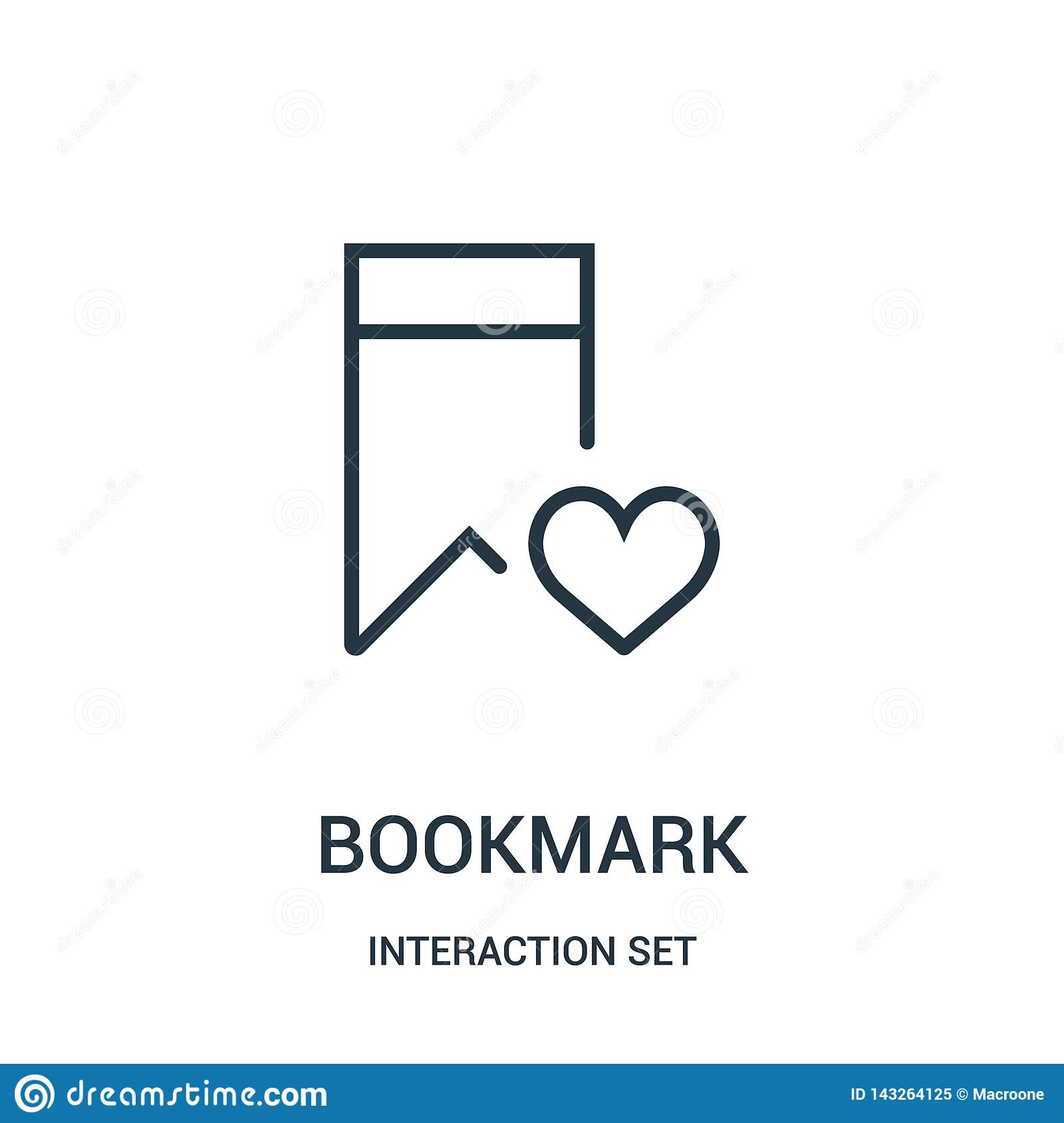 bookmark icon vector from interaction set collection. Thin line bookmark outline icon vector illustration