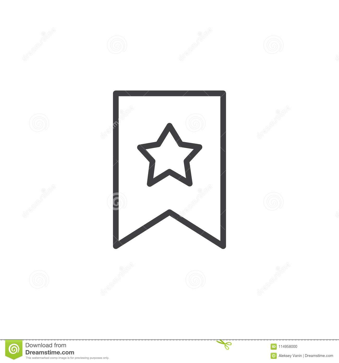 Bookmark With Star Outline Icon Stock Vector - Illustration