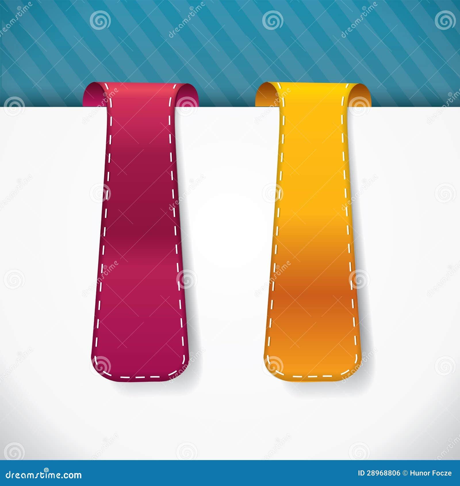 Bookmark vertical stylowe etykietki z ściegami