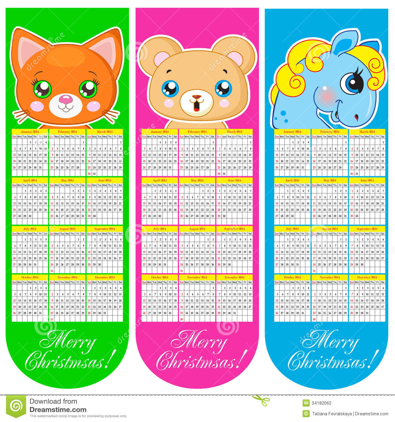 Calendar Illustration Vector : Bookmarks and calendar with animals stock photography