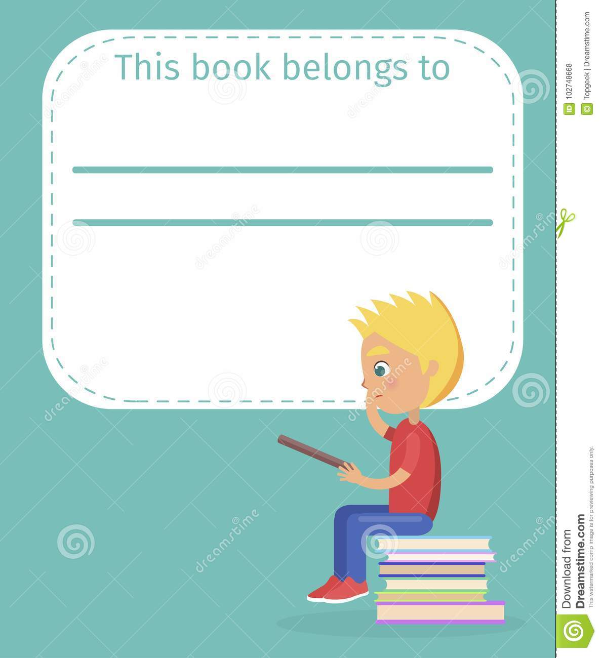 Bookplate With Name This Book Belong To And Boy Stock Vector