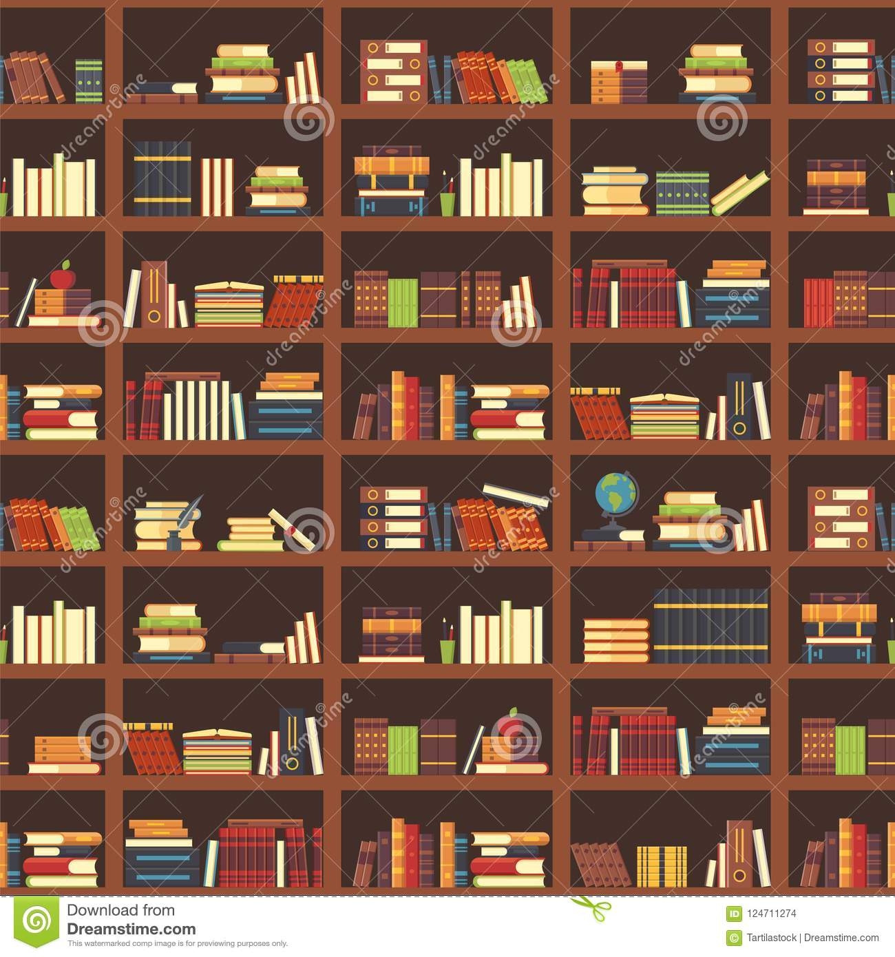 Books In Bookcase Seamless Pattern School Book Science Literature Textbook Dictionary And Magazines Stack At University Old Library Bookshelf College