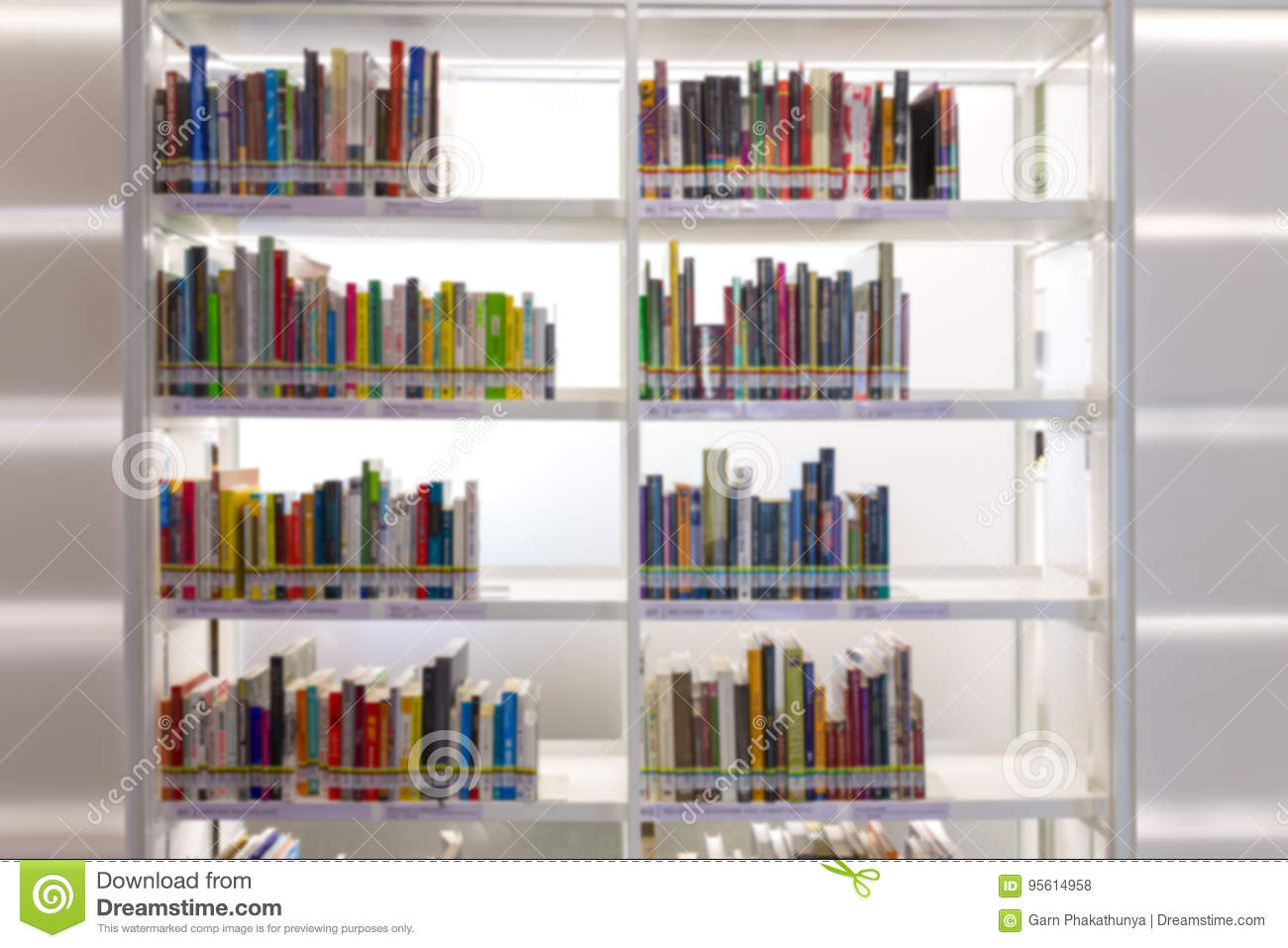 Books On Bookshelf In Library Room Abstract Blur De Focused Bac Download Preview
