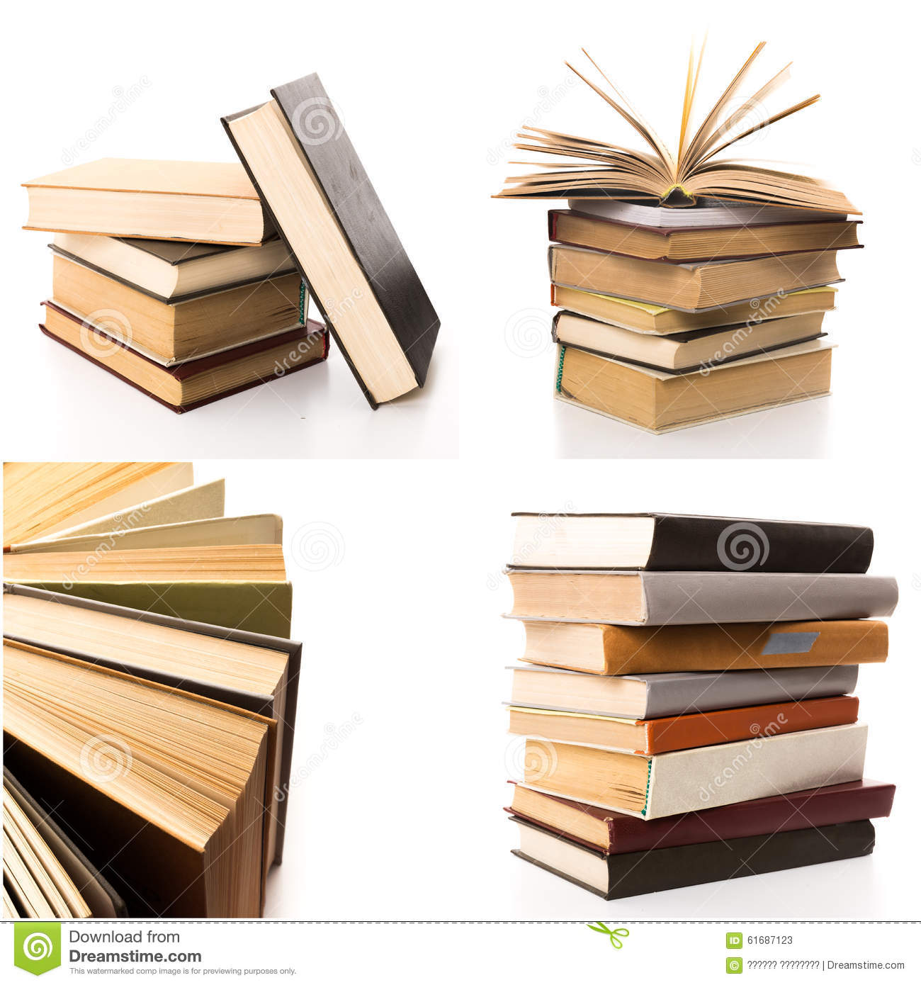 Vintage Hardcover Book : Books collage stock photo image