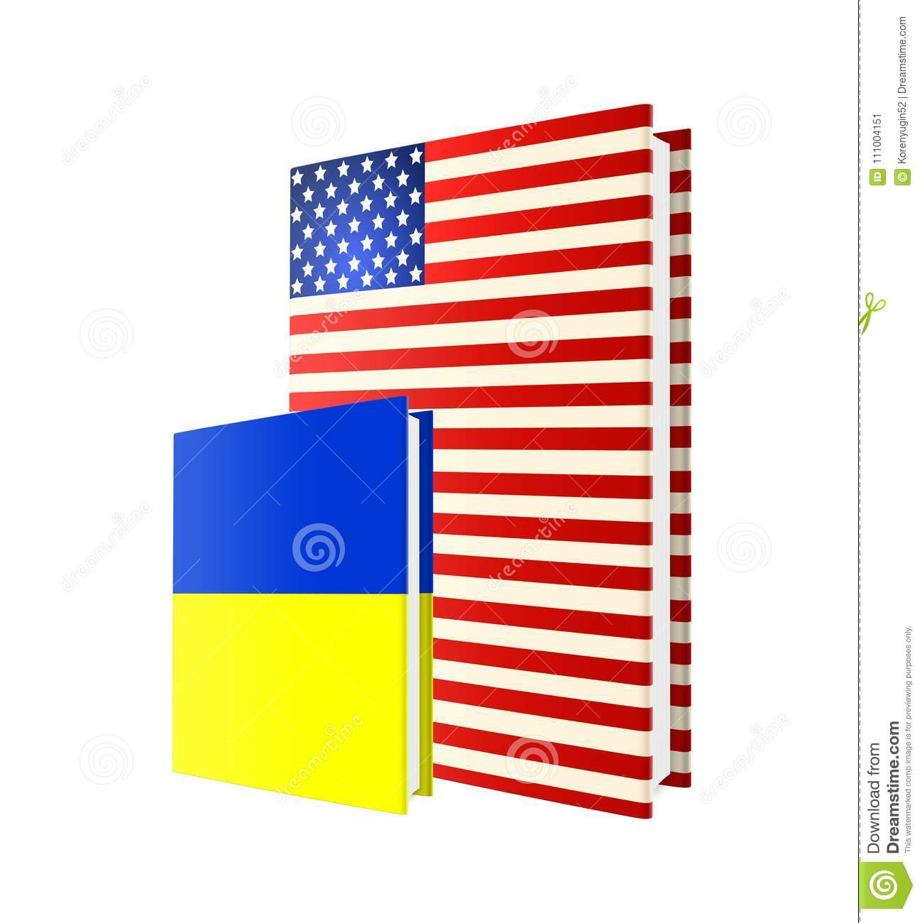 Books in color of american and ukrainian flags isolated on white