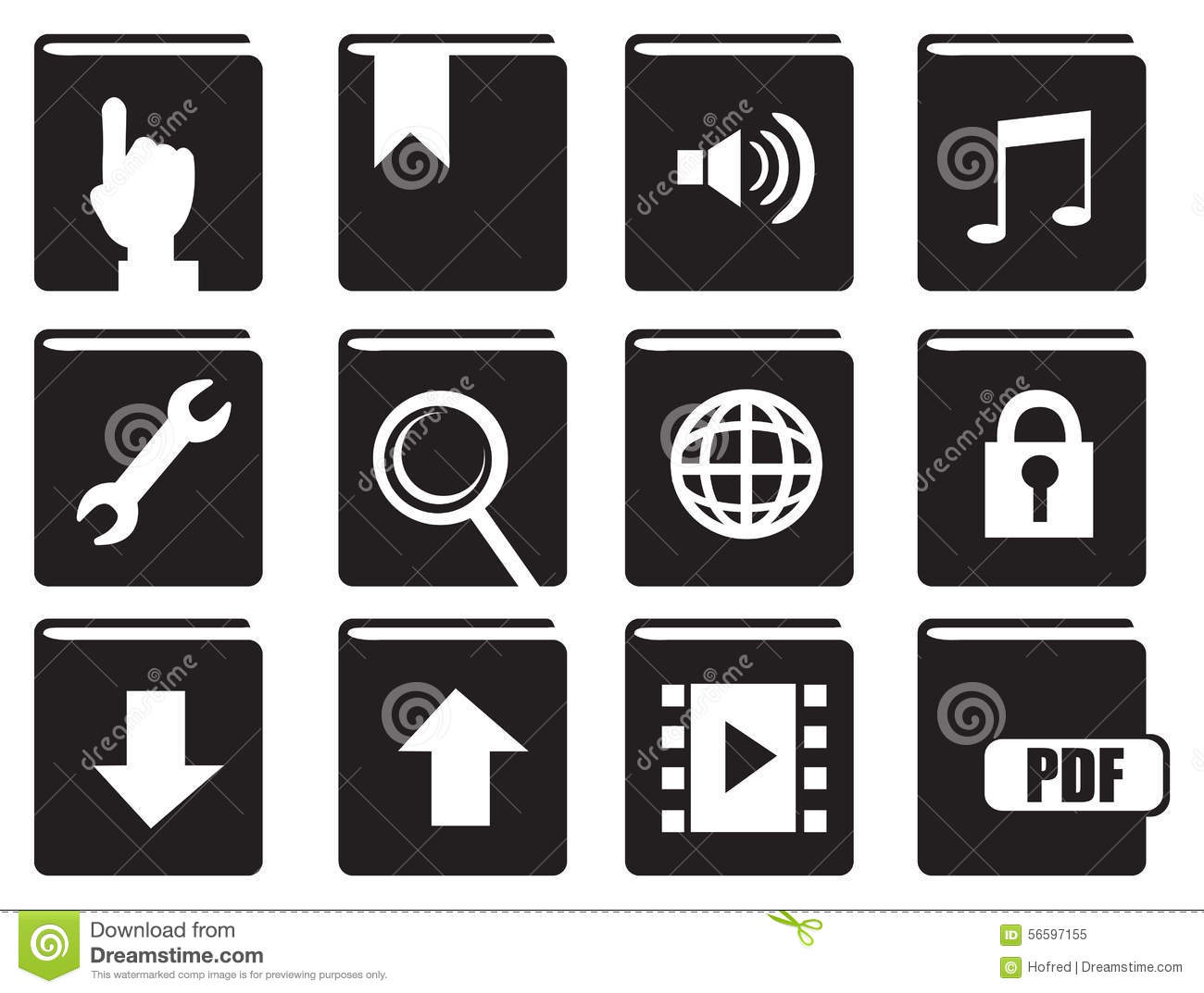 Books With Computer Icons Vector Icon Set Stock Vector