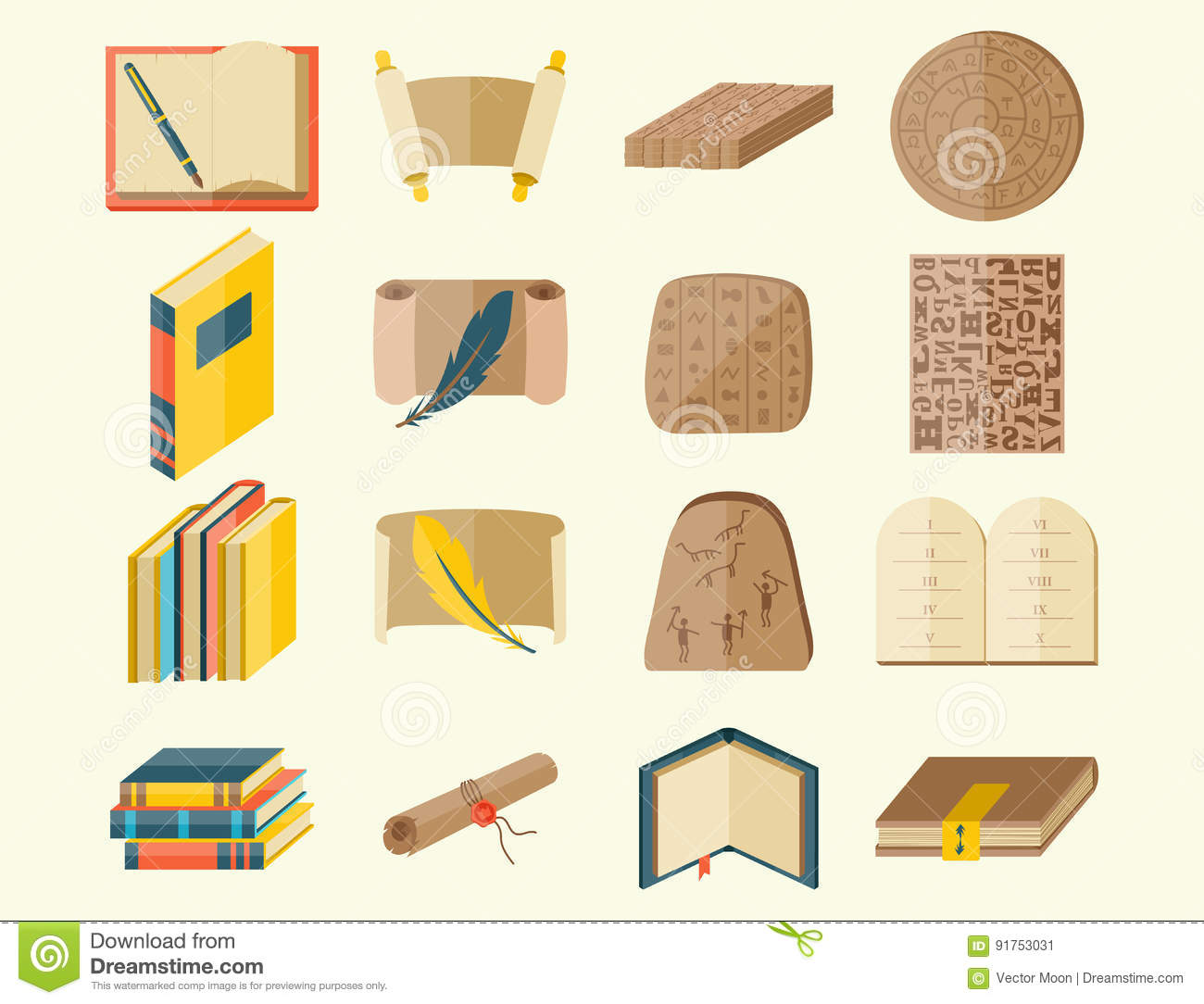 Typographic Book Cover Vector : Books icons document magazine publication typography