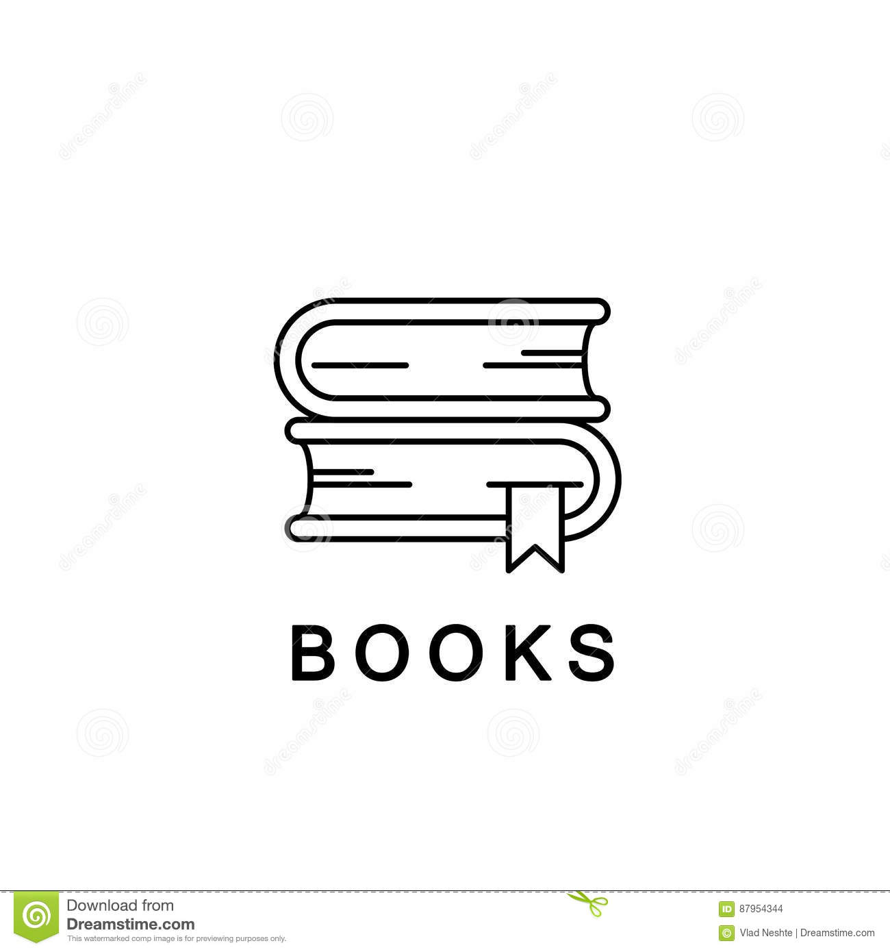 Books linear icon or logo. Vector line illustration. School textbooks with bookmarks, library symbol.