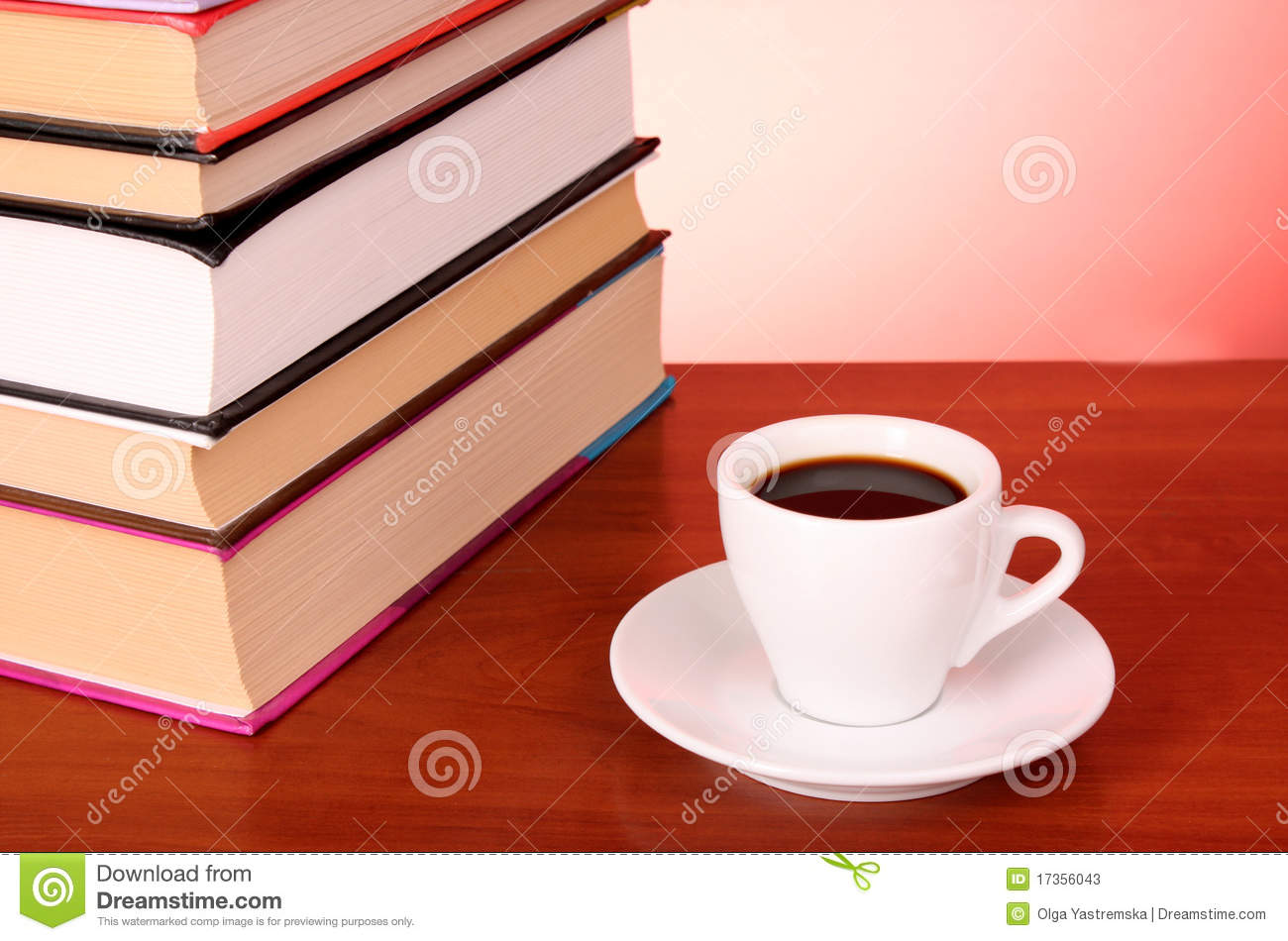 Books Pile And Cup Of Coffee Stock Photos Image 17356043