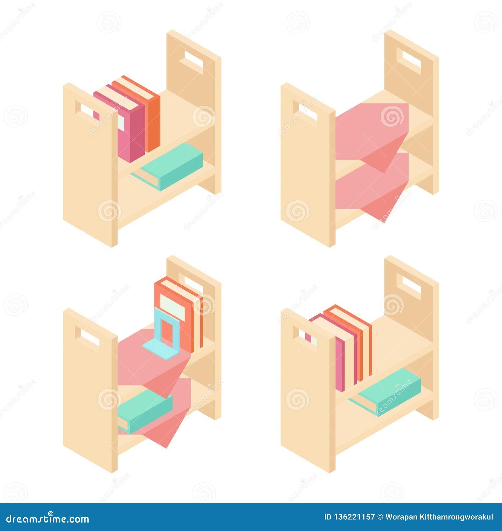 Book shelf isometric 3D vector illustration