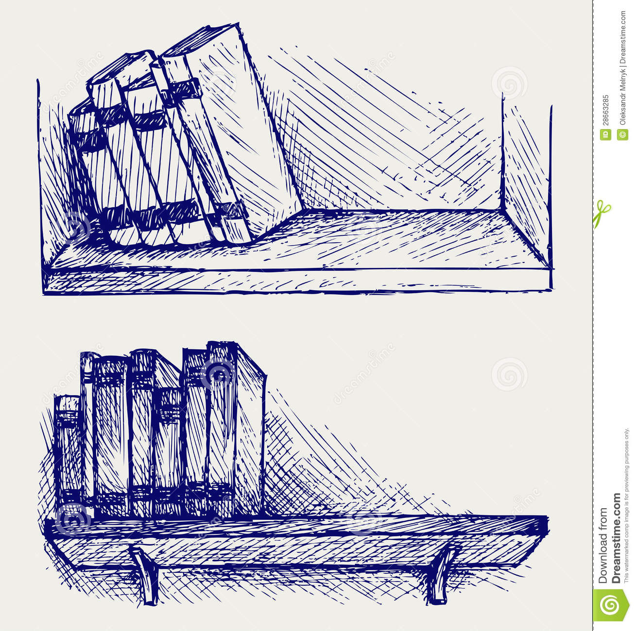 Books On The Shelf Stock Vector Illustration Of Book