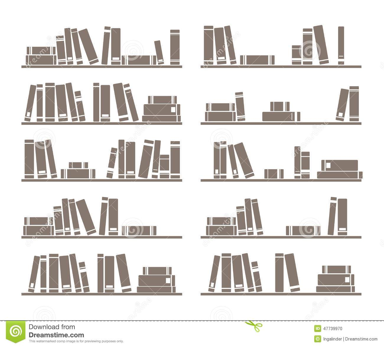 Vector books on shelf stock vector. Image of archives - 47739970
