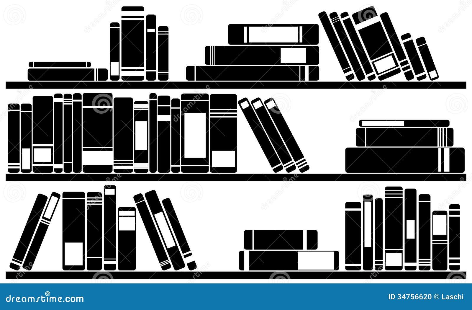 Library Bookshelf Clipart Books Stock Photo - Im...